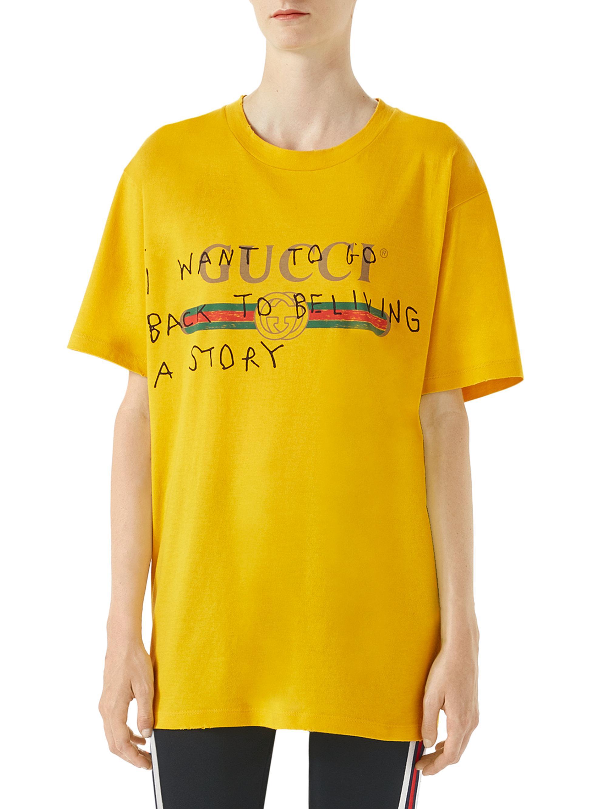 2b0b5480 Gucci Logo Writing T-shirt in Yellow - Lyst