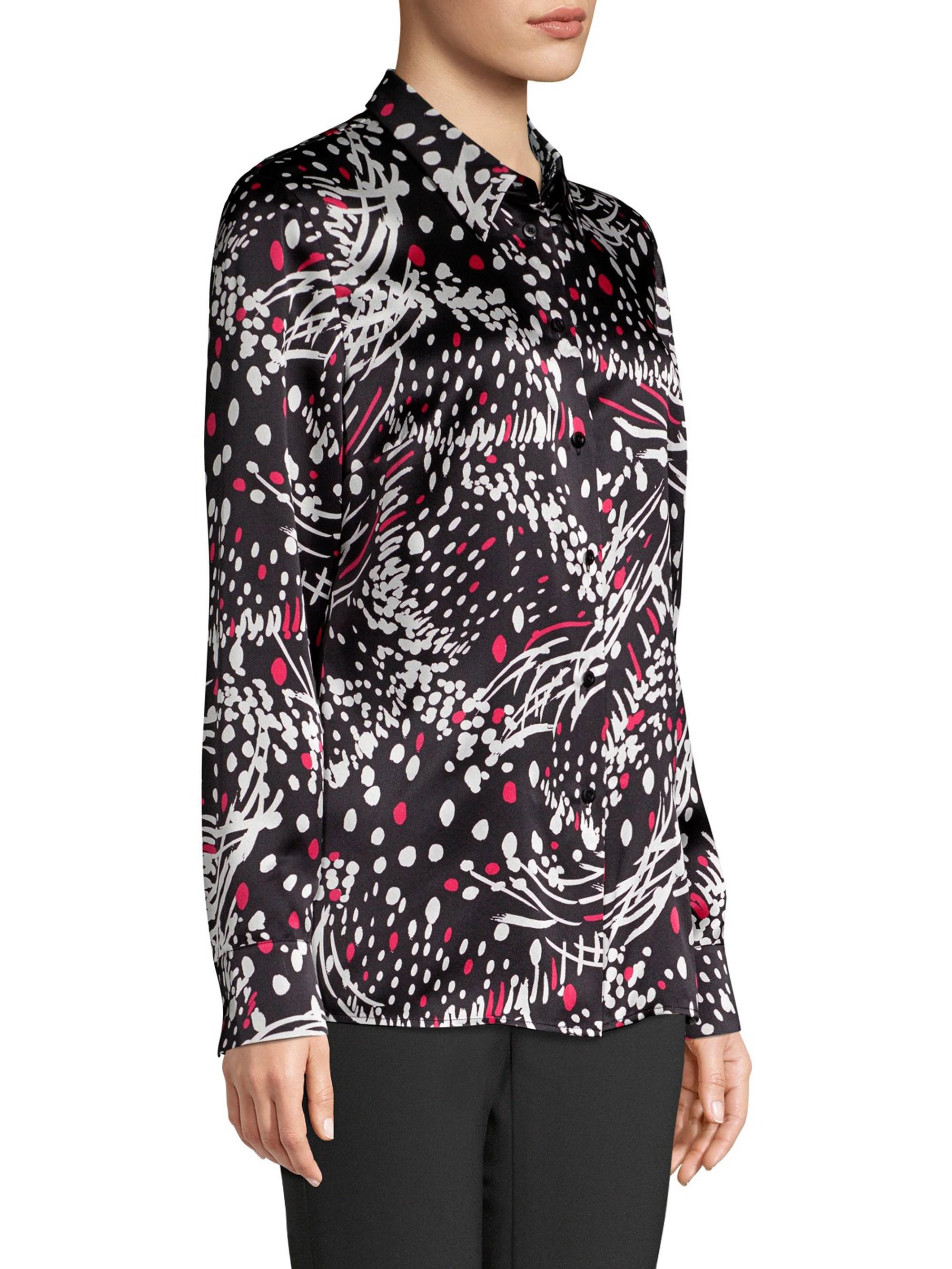 Lyst Escada Silk Print Shirt In Black