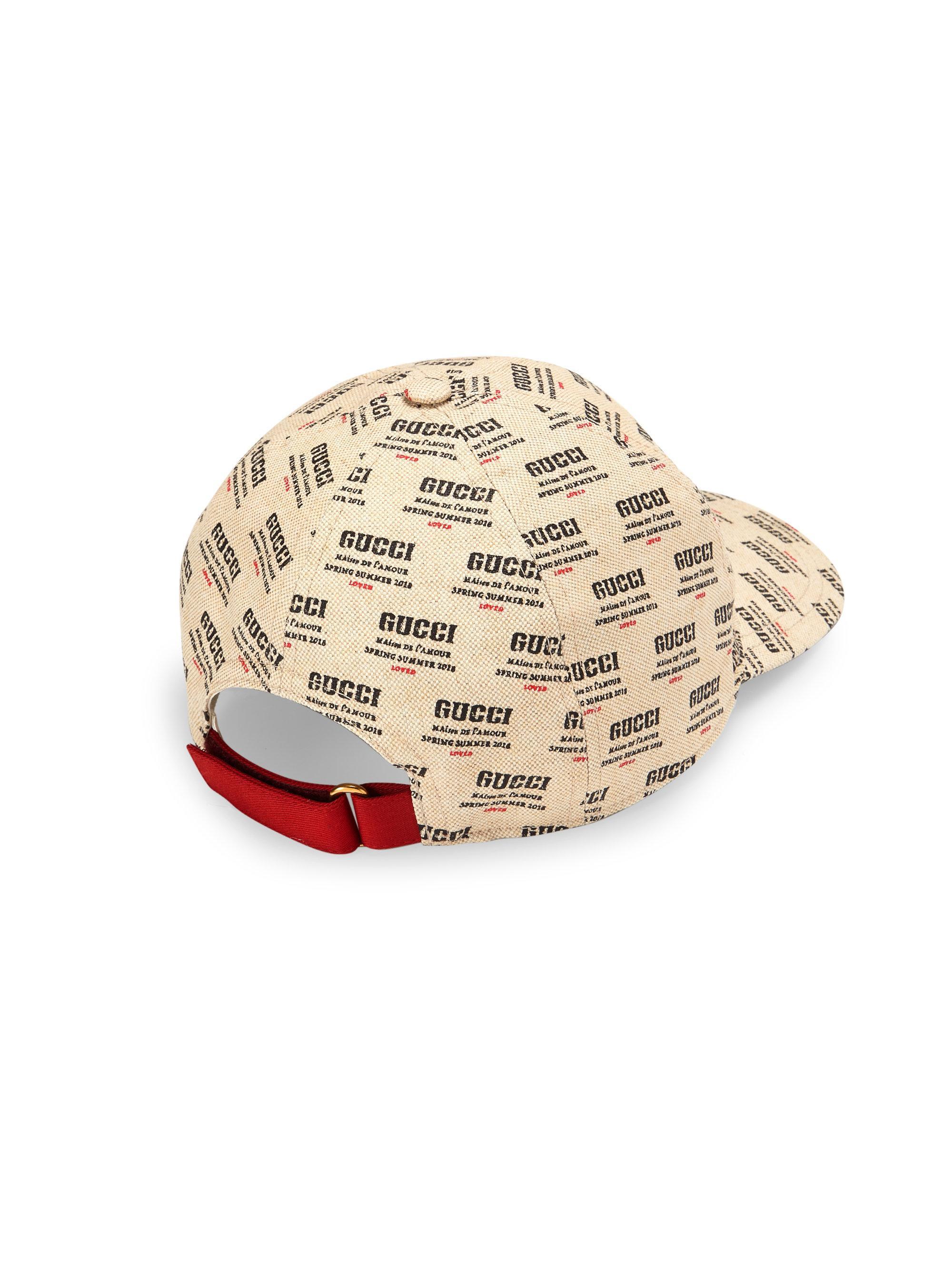 ba98f6404ece4 Gucci Logo Invite Print Canvas Baseball Hat in Red for Men - Lyst