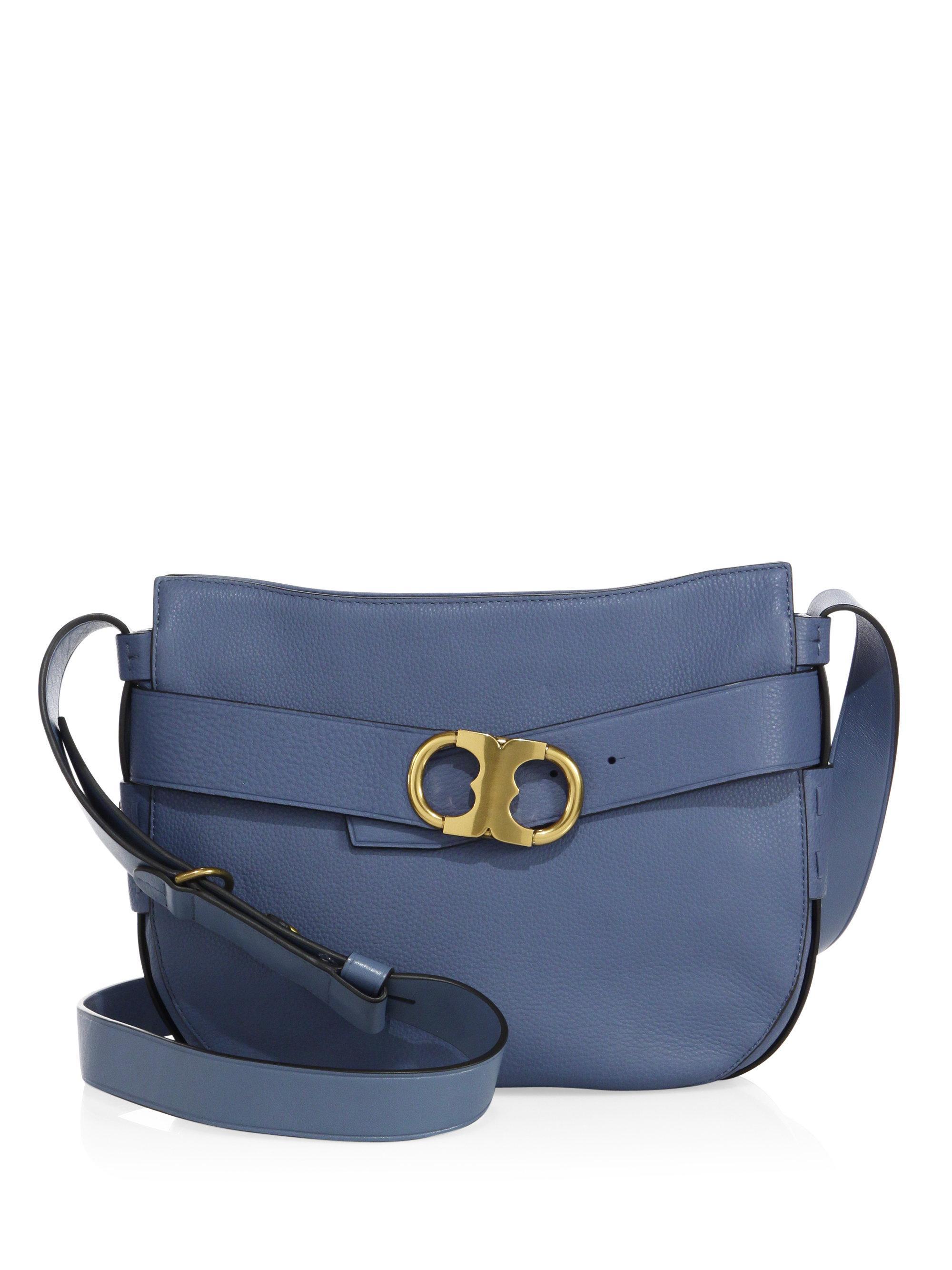 ee185000d2a6 Lyst - Tory Burch Gemini Link Leather Crossbody Bag in Blue