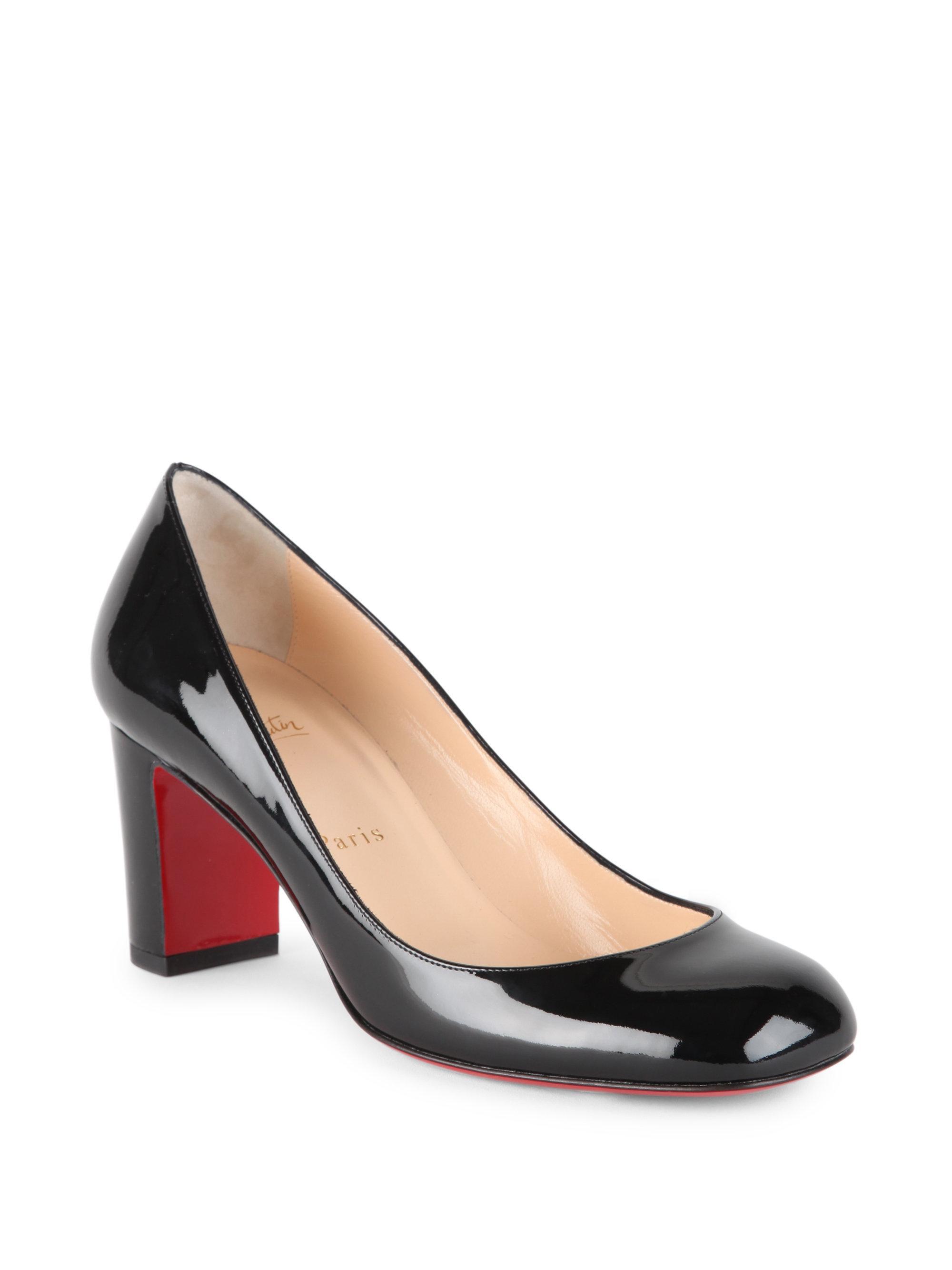 fbc2f6ef723 Christian Louboutin Cadrilla 70 Patent Leather Block Heel Pumps in ...