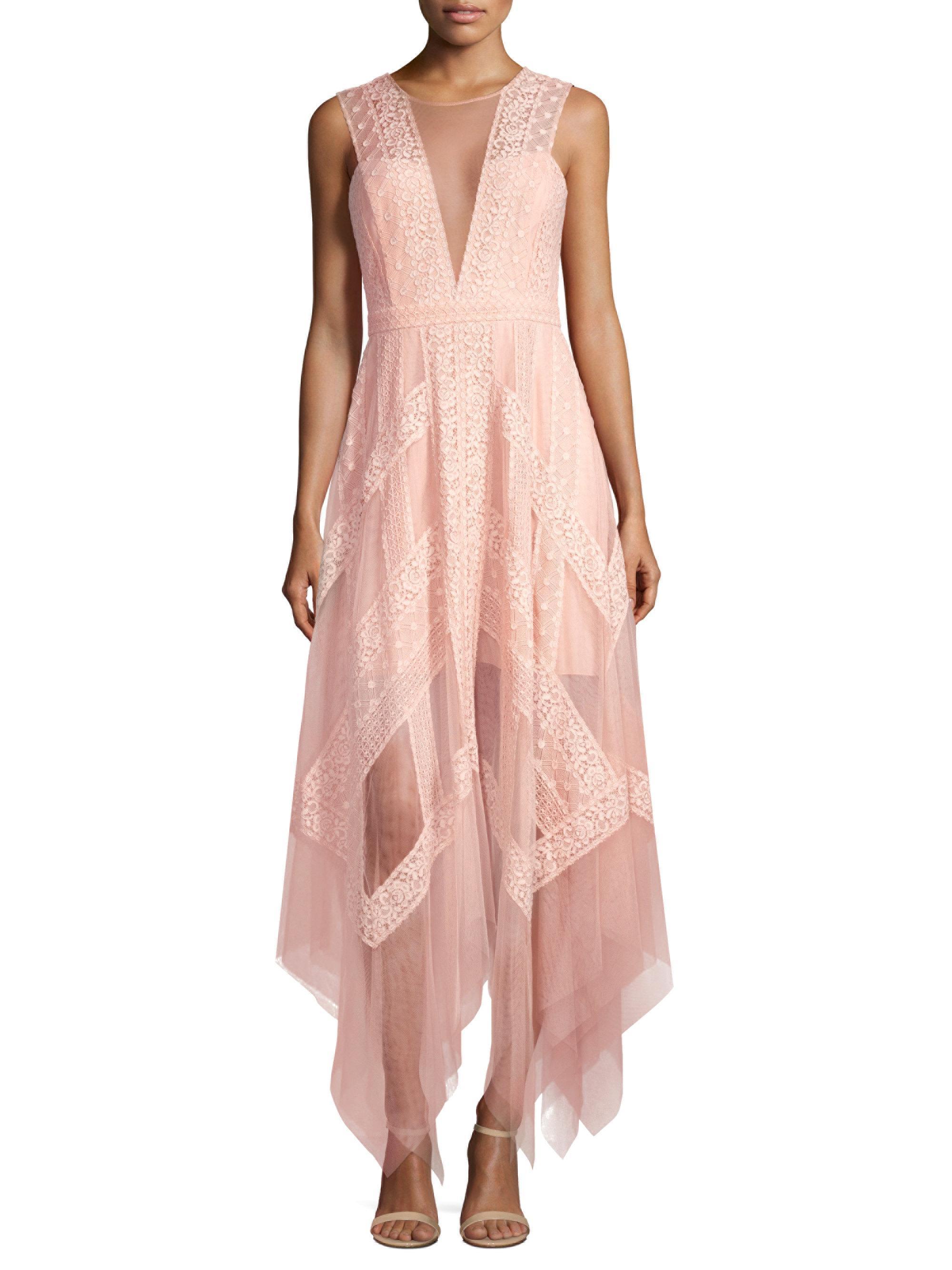 Lyst - Bcbgmaxazria Asymmetrical Lace Dress in Pink