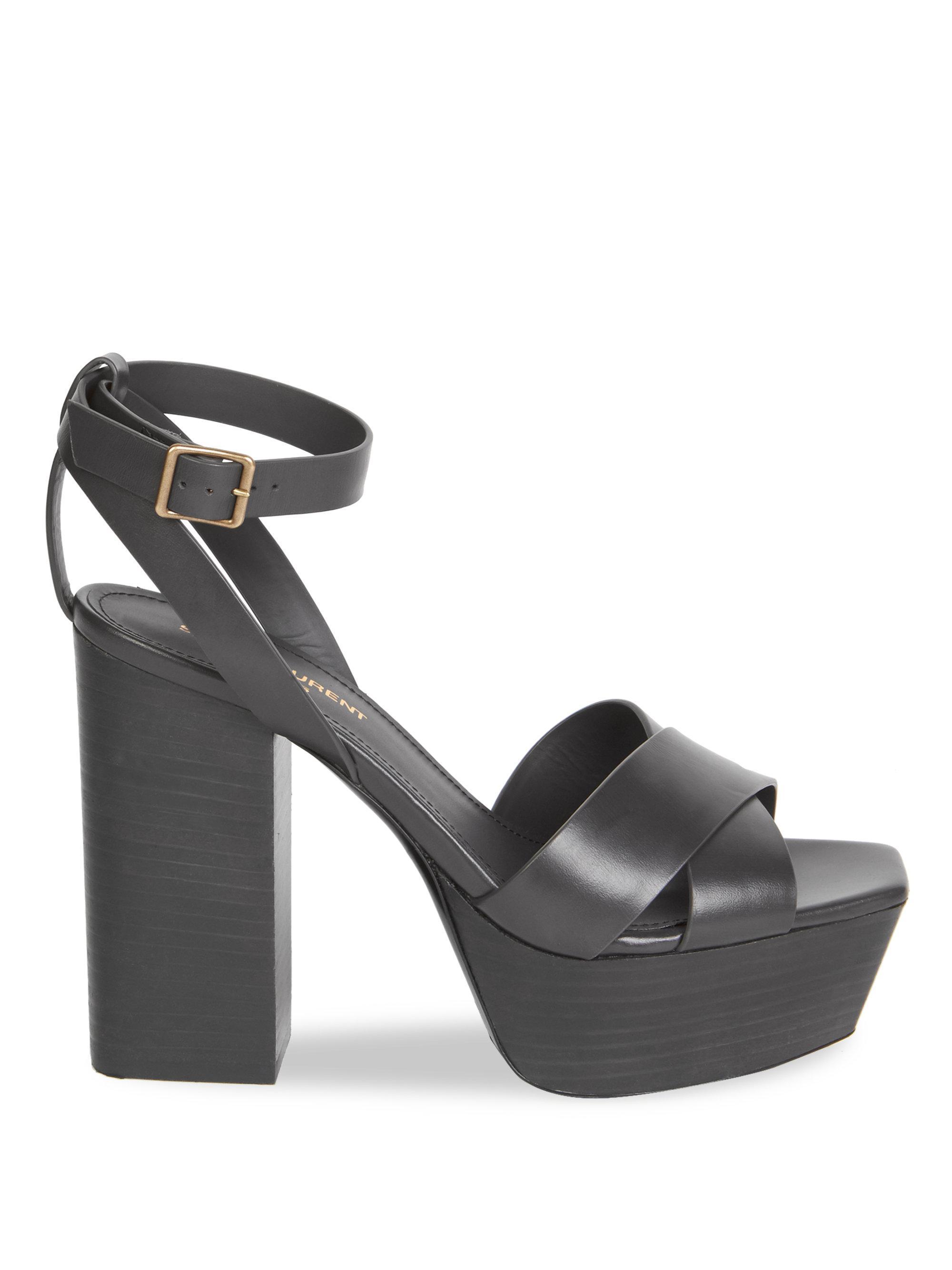 33939687a1d Lyst - Saint Laurent Farrah Ankle-strap Leather Platform Sandals in Gray