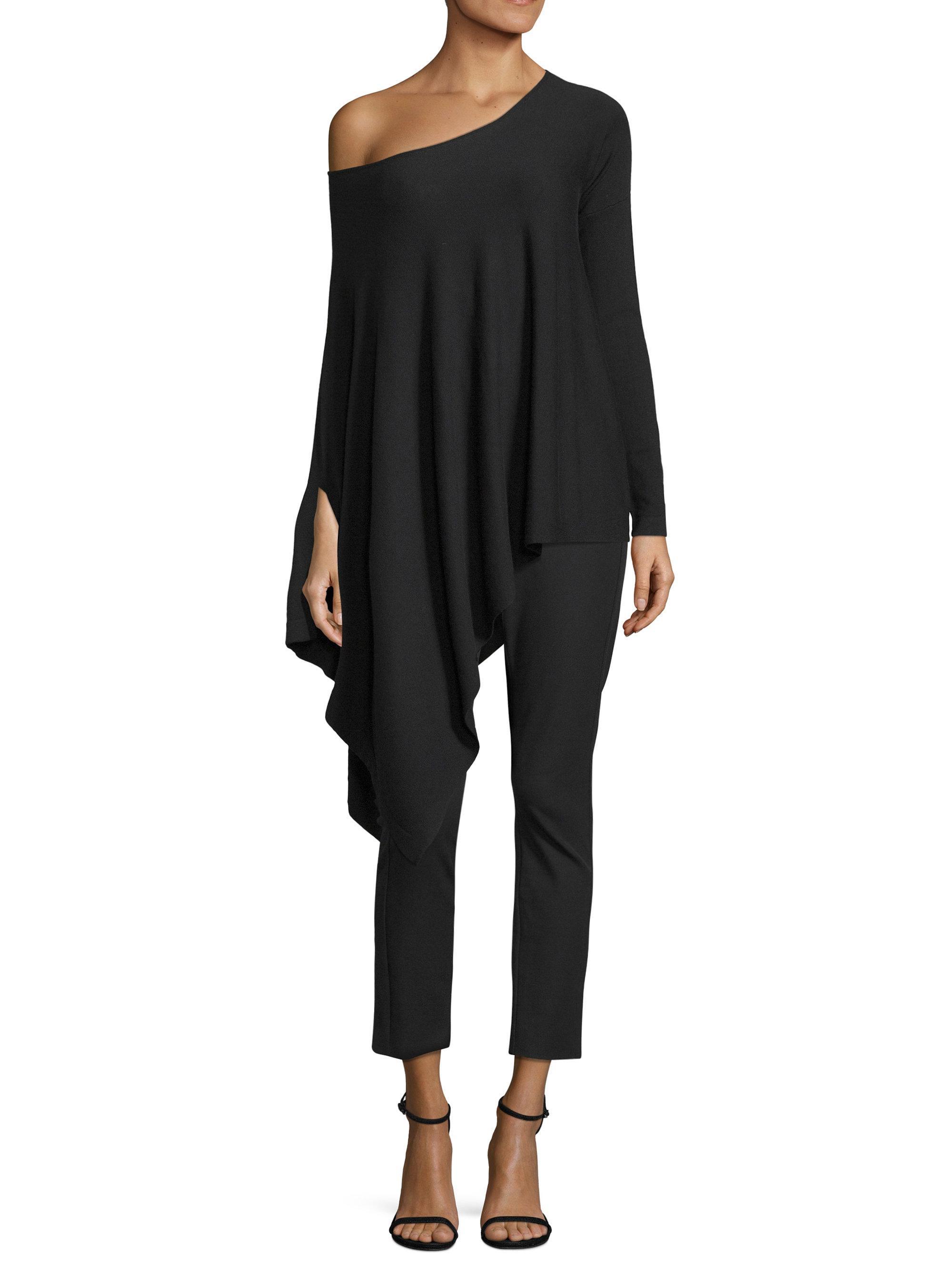 0c4446bc040ef4 Lyst - Donna Karan Asymmetrical Pullover in Black