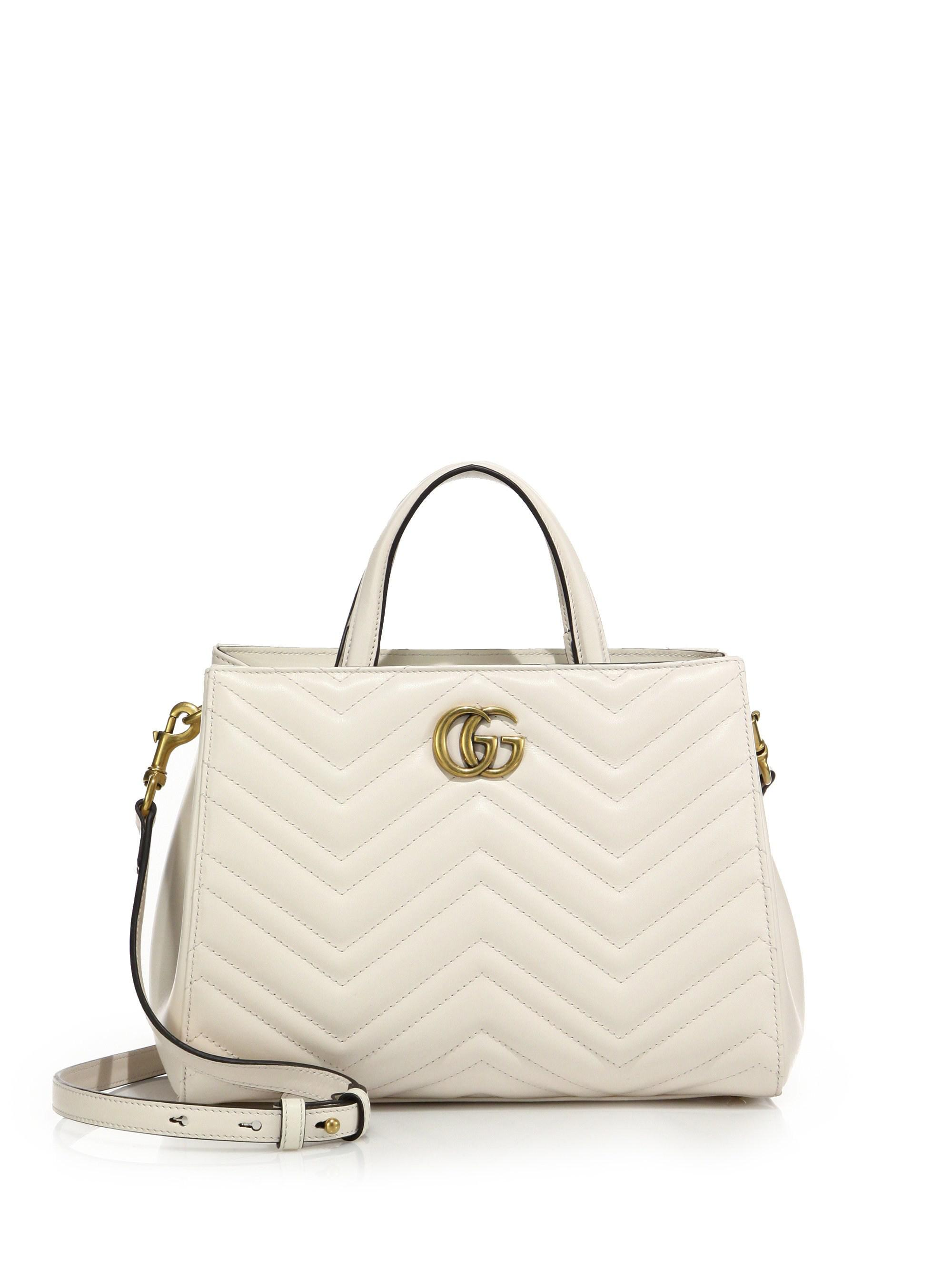 Lyst - Gucci GG Marmont Matelasse Leather Top-Handle Tote in White 11735d6687c73