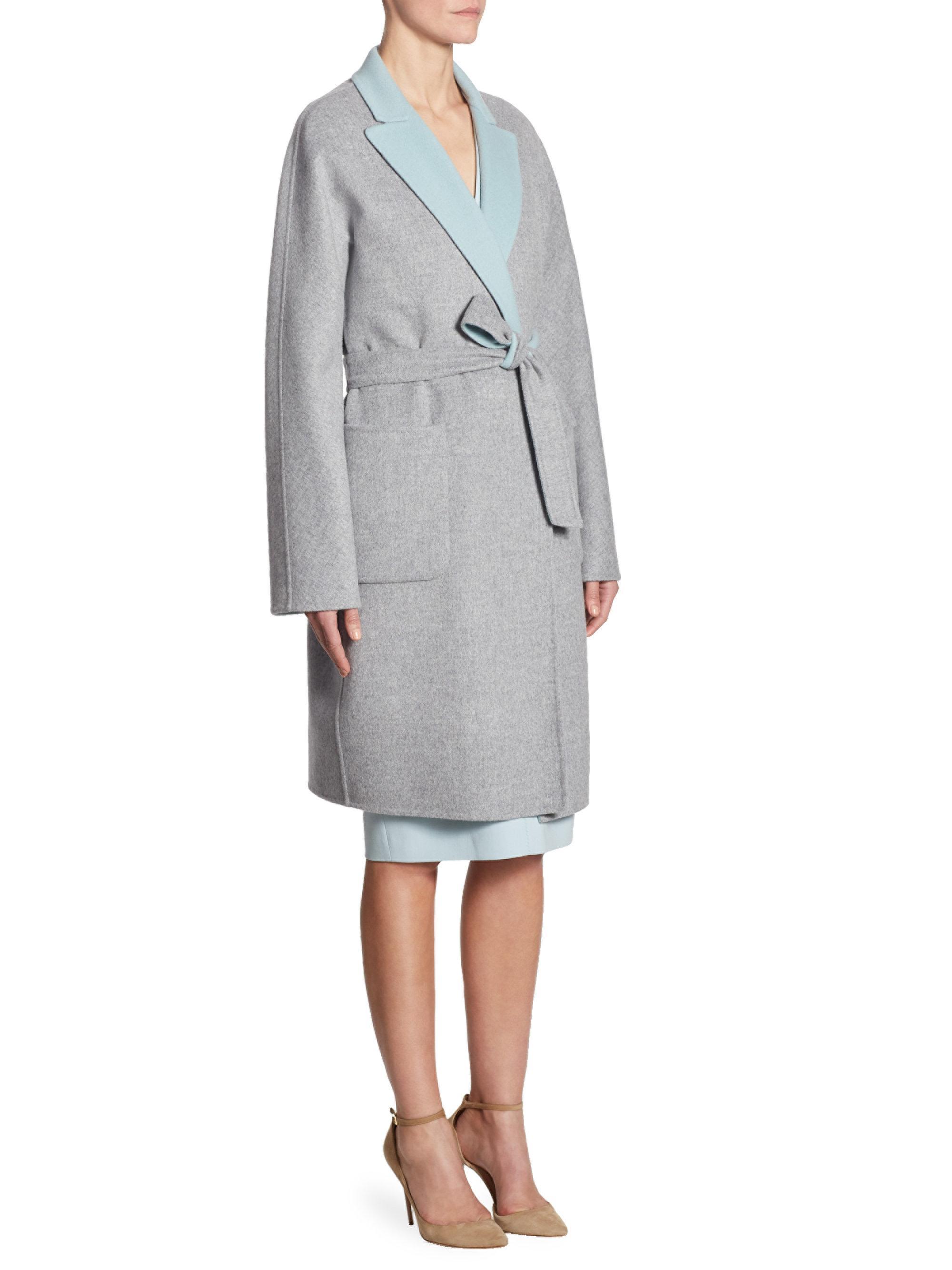 Lyst - Max Mara Rouen Virgin Wool   Angora Reversible Coat in Blue a8d4e77e399