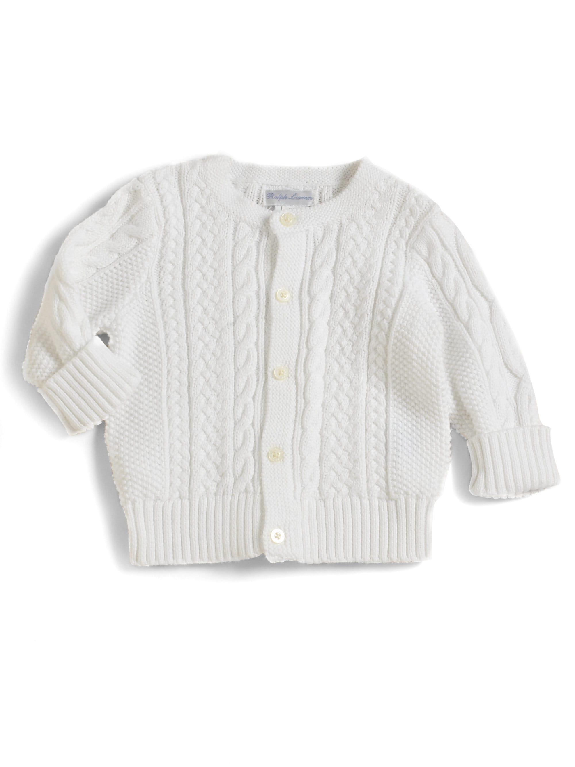 837cda3fb008 Lyst - Ralph Lauren Baby Girl s Mercerized Cotton Cardigan in White