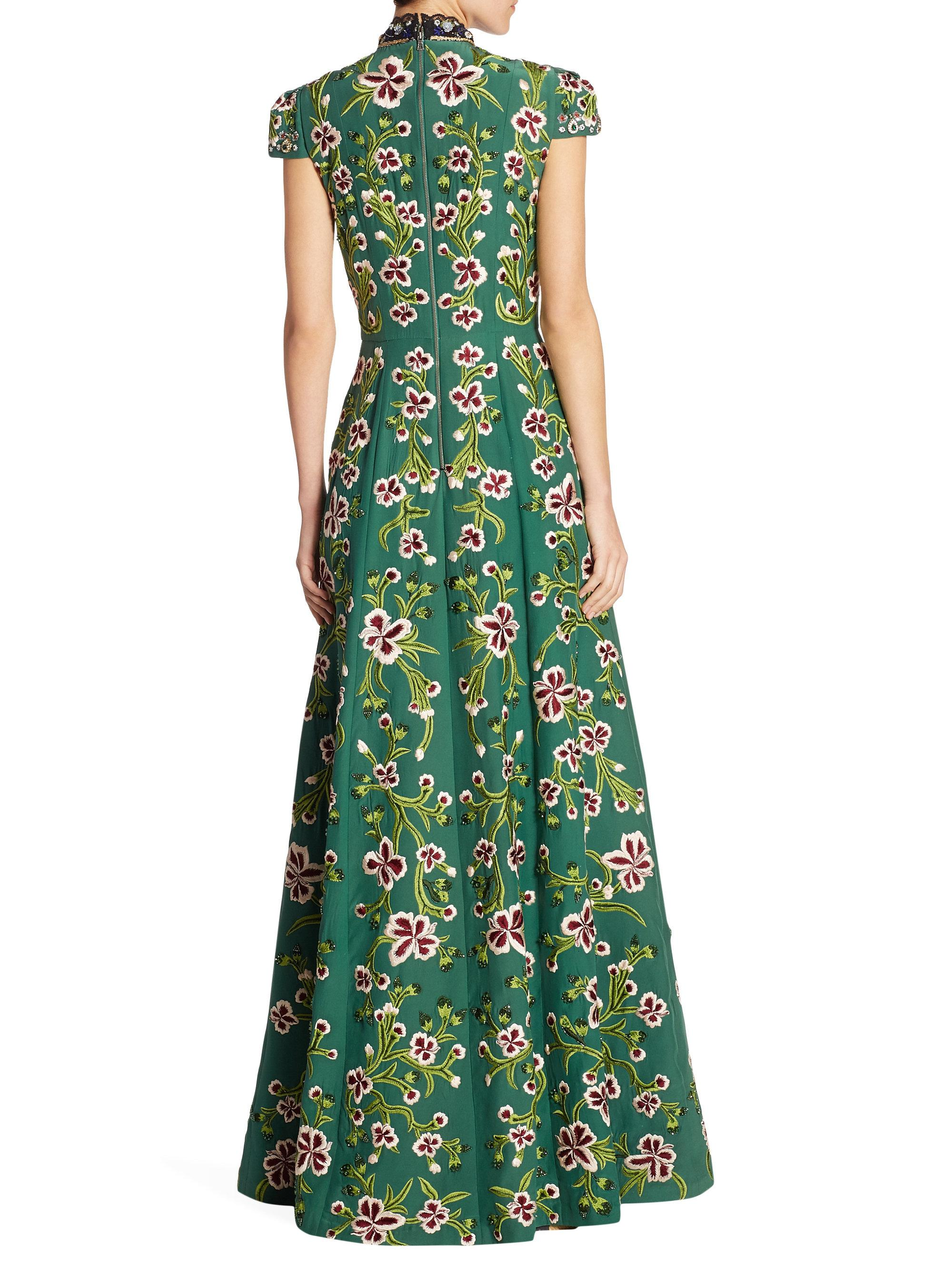 Lyst - Alice + Olivia Nidia Embellished Floral Gown in Green
