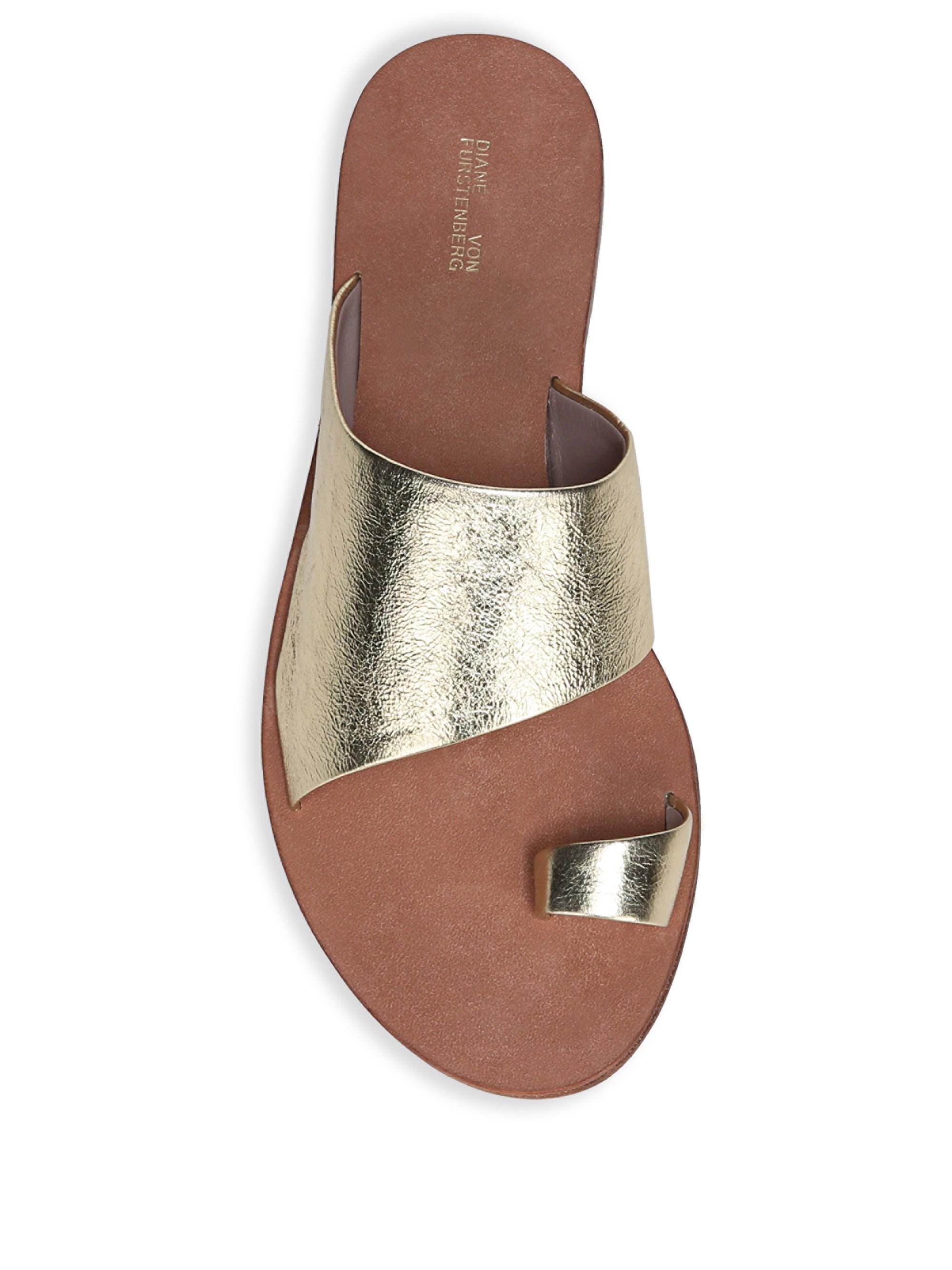 083c33b4a5f031 Lyst - Diane von Furstenberg Women s Brittany Gold Toe Ring Sandal - Gold -  Size 35 (5) in Metallic