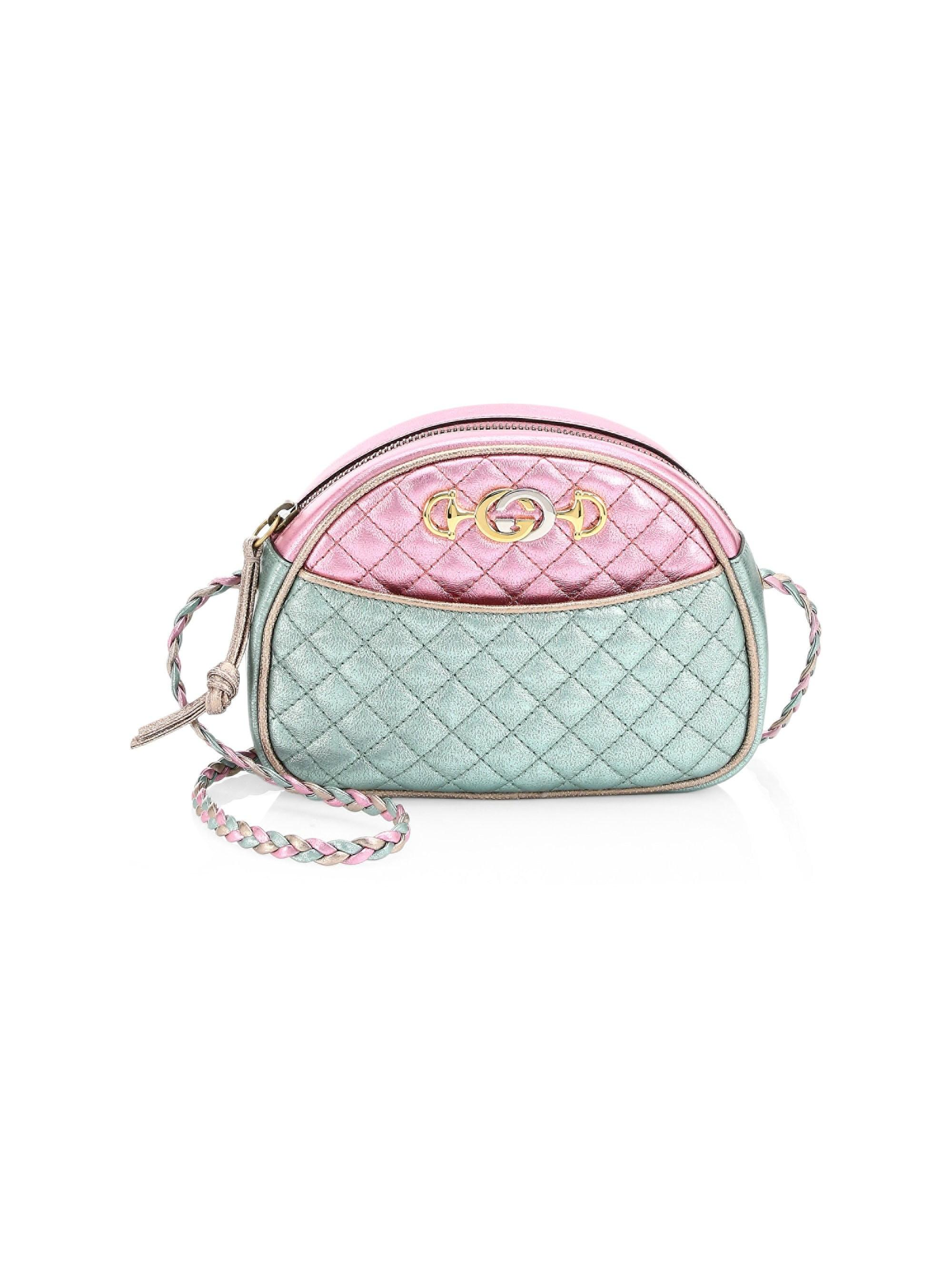 9aea71bcb67 Gucci. Women s Pink Trapuntata Mini Quilted Metallic Leather Crossbody Bag