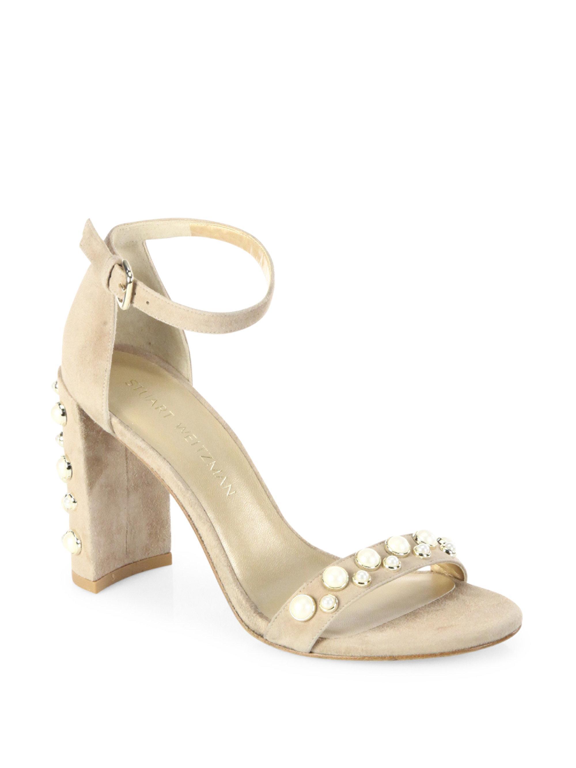 023ee2c3cbf Lyst - Stuart Weitzman Morepearls Studded Suede Block Heel Sandals ...