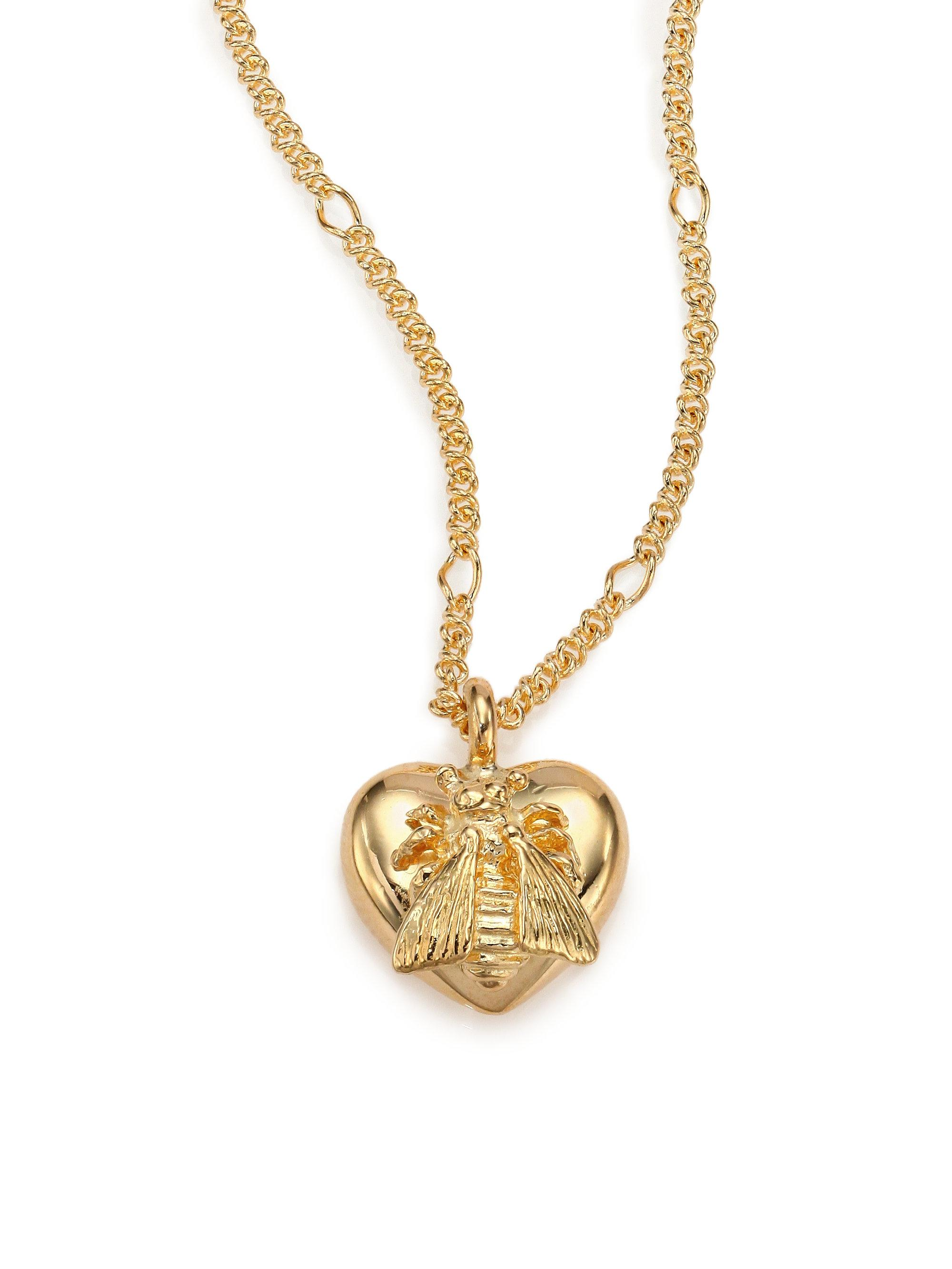 Lyst gucci 18k yellow gold bee heart pendant necklace in metallic gallery aloadofball Image collections