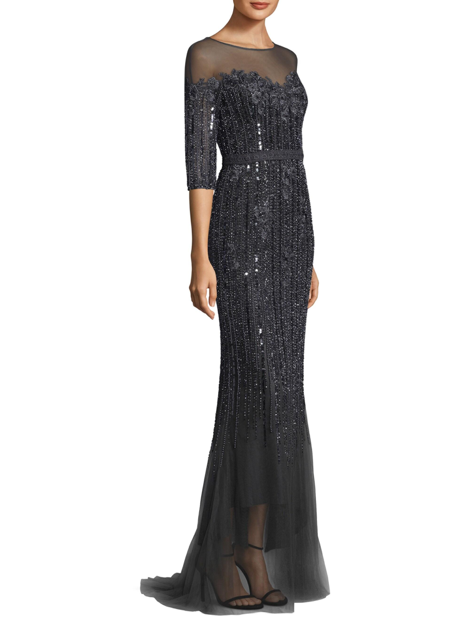055d77390a5 Basix Black Label Women s Mesh Embellished Gown - Charcoal in Gray - Lyst