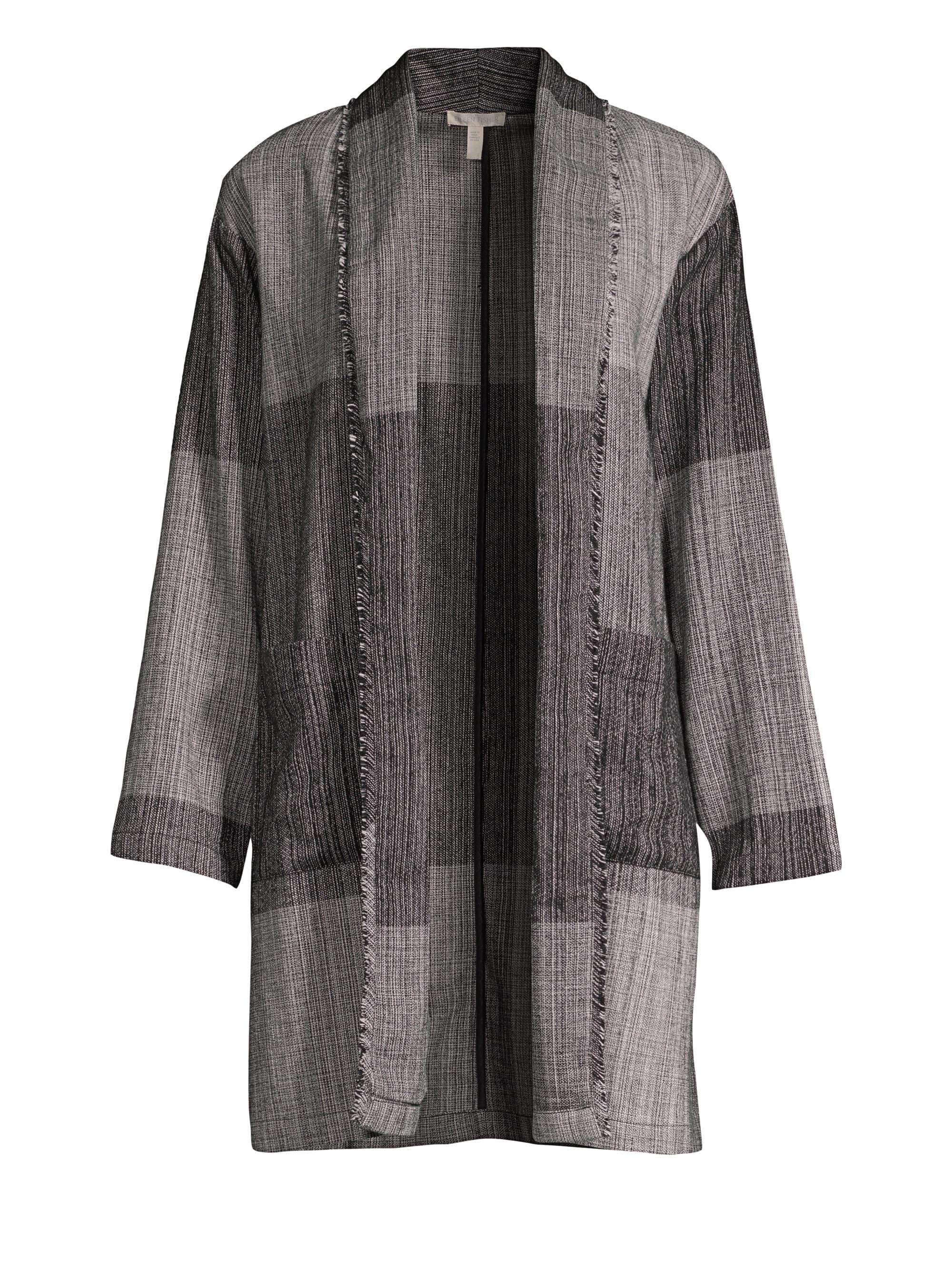 66078f70bd08b Lyst - Eileen Fisher Women s Shawl Collar Long Cotton Jacket - Black ...