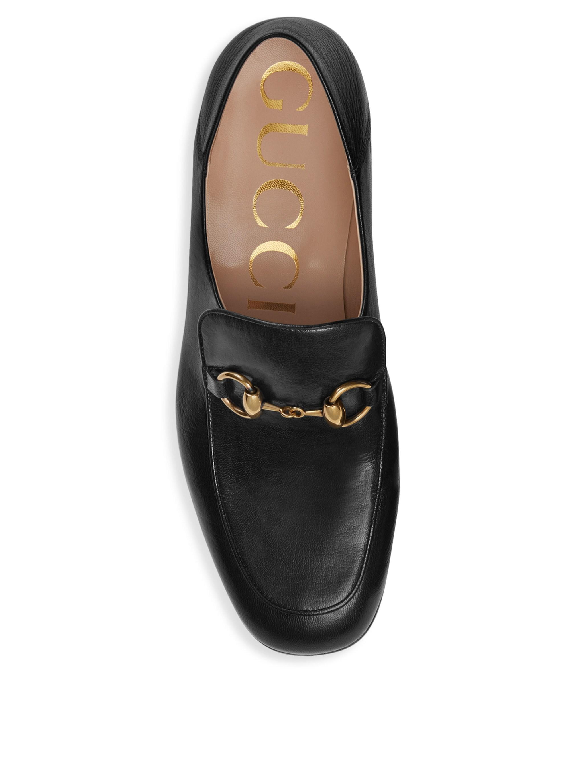 828e72508c3 Gucci Horsebit Leather Crystal Loafers in Black - Lyst