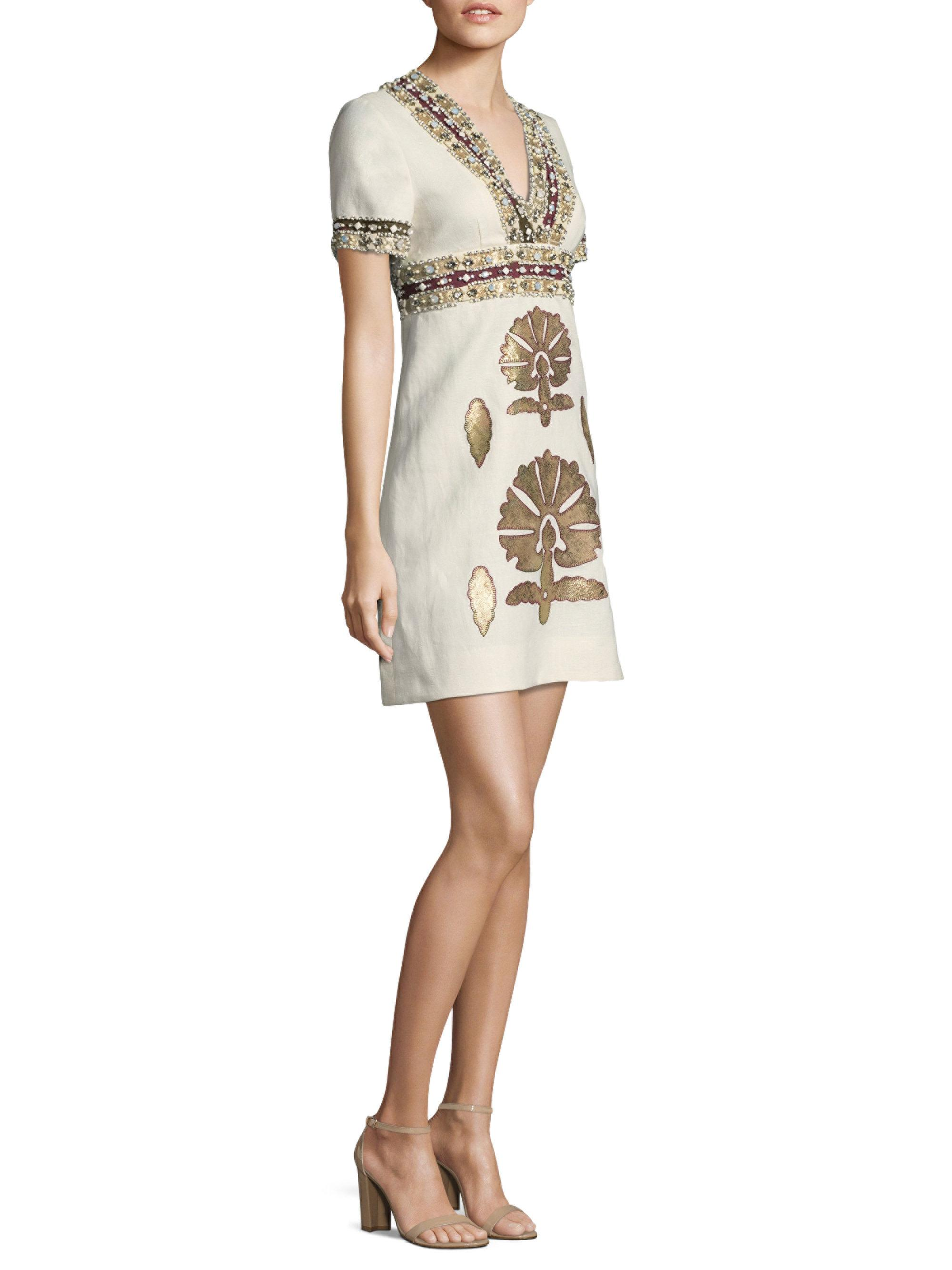 77db5507c85 Tory Burch Anya Embellished Linen Mini Dress in White - Lyst
