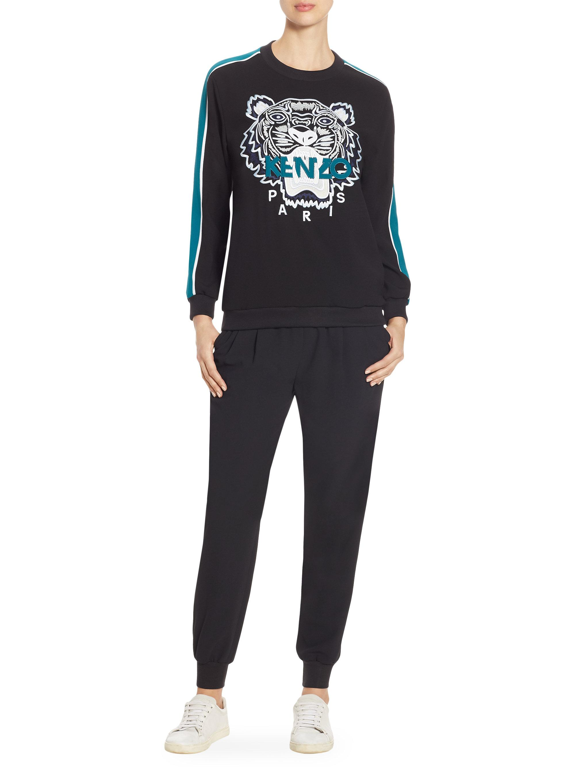 d66af1a8 Lyst - KENZO Embroidered Tiger Icon Track Sweatshirt in Black