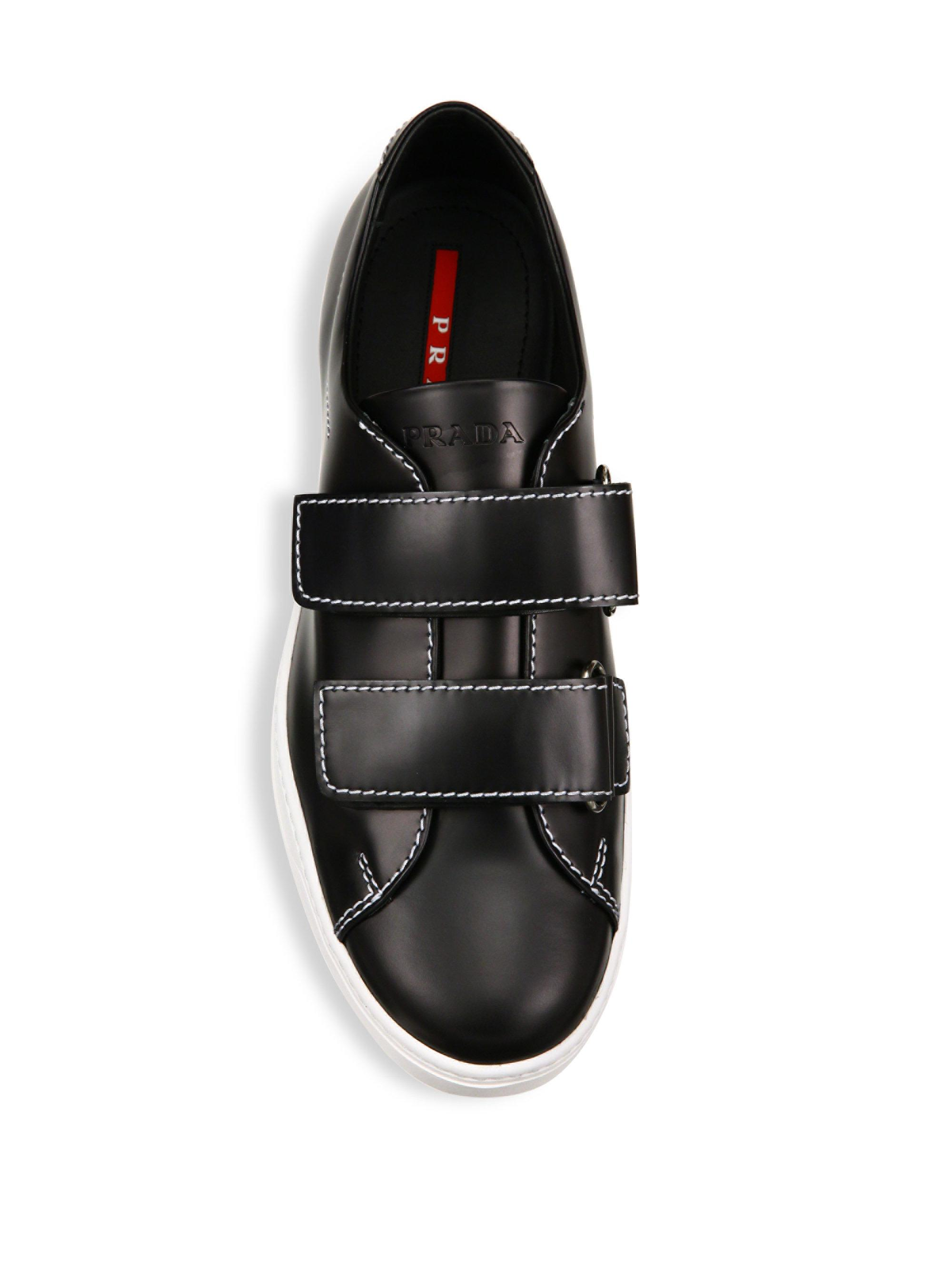8ddfc32452c3 ... czech prada double grip tape leather sneakers in black for men lyst  3b1df 2b98b