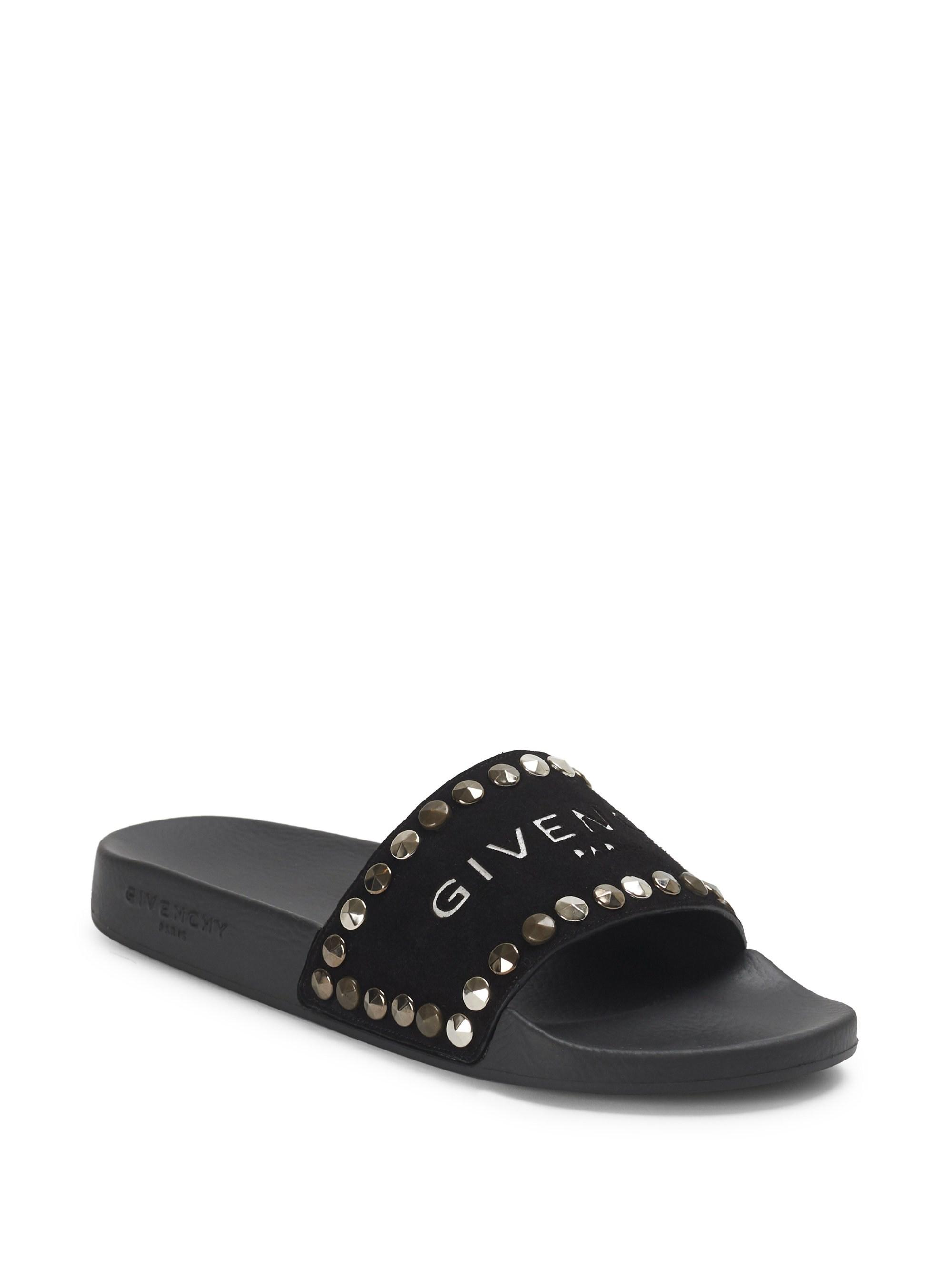 b7515e5dfe02 Lyst - Givenchy Rubber And Suede Slides in Black - Save 54%