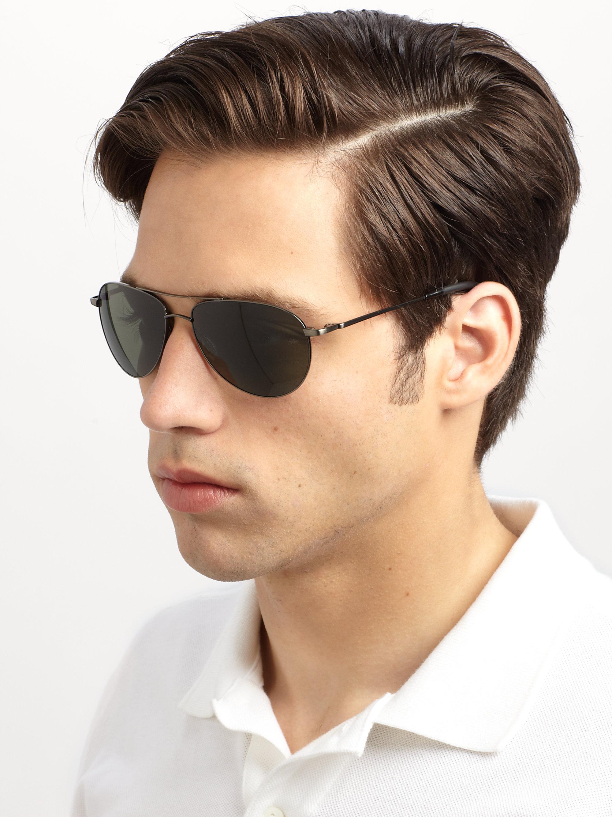1b8dcbffaca Lyst - Oliver Peoples Benedict Aviator Sunglasses in Black for Men