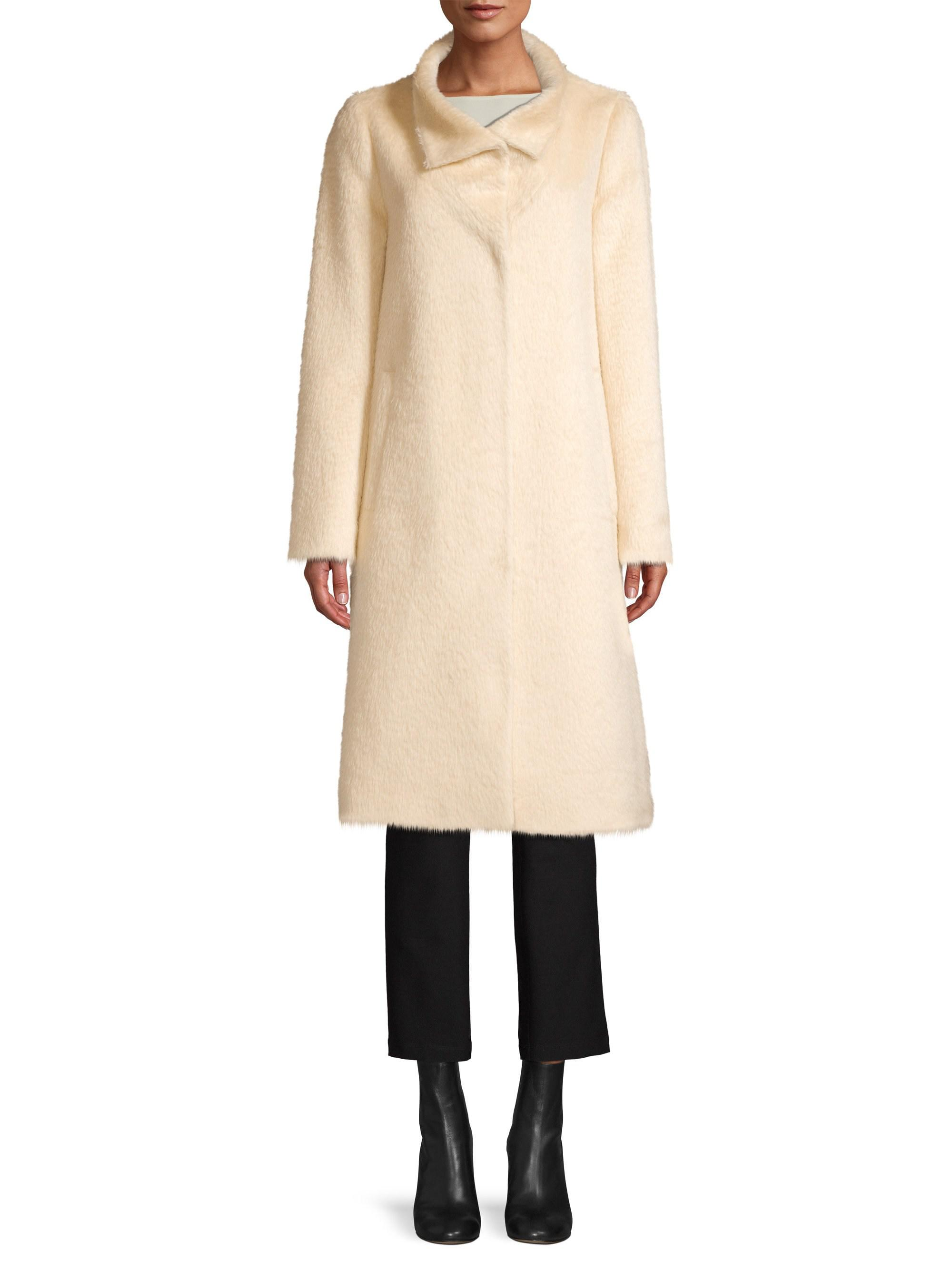 c9482778718 Eileen Fisher High Collar Coat in Natural - Lyst