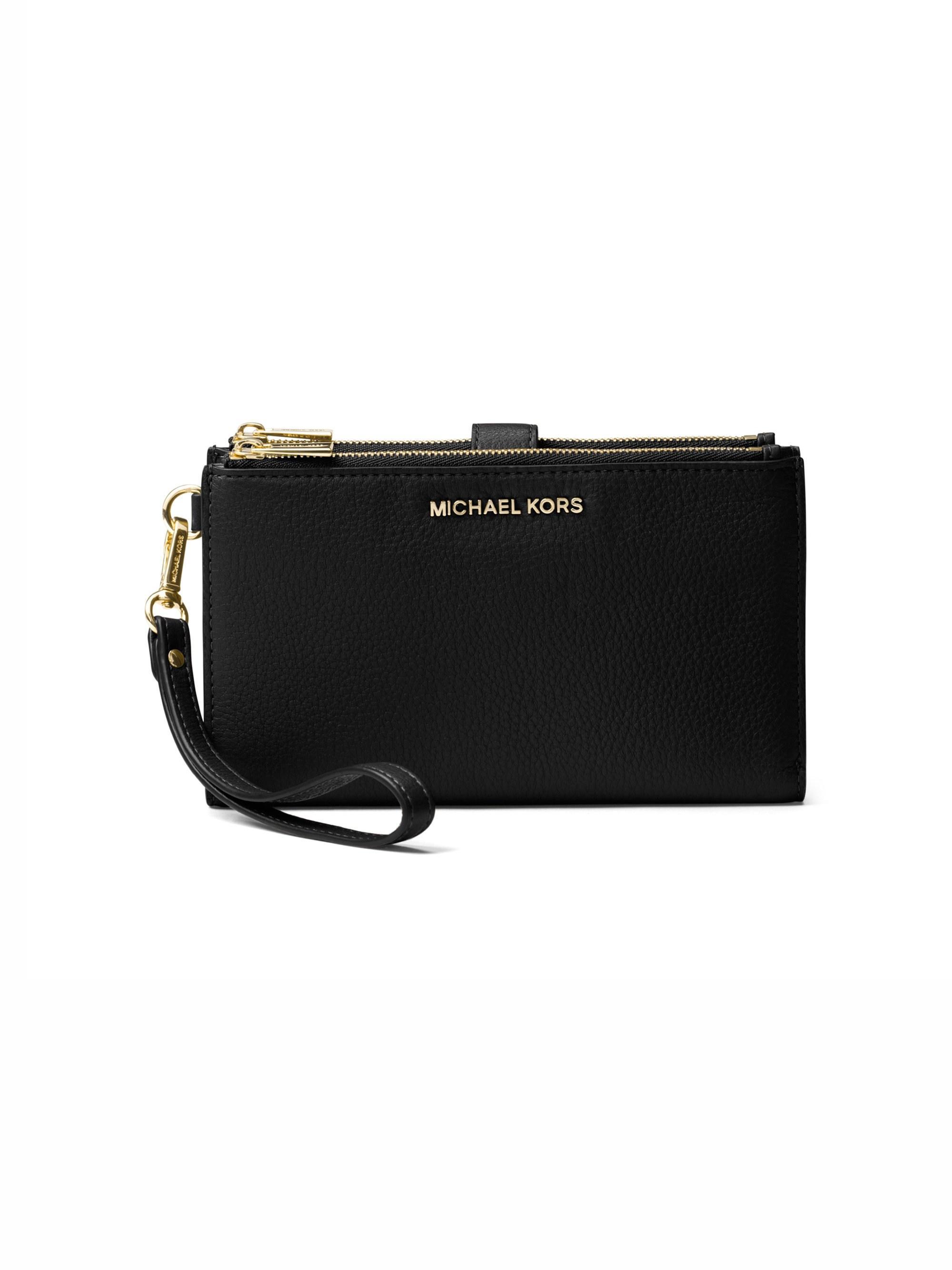 4c77ec5bae85 Lyst - MICHAEL Michael Kors Women s Double Zip Leather Wristlet ...