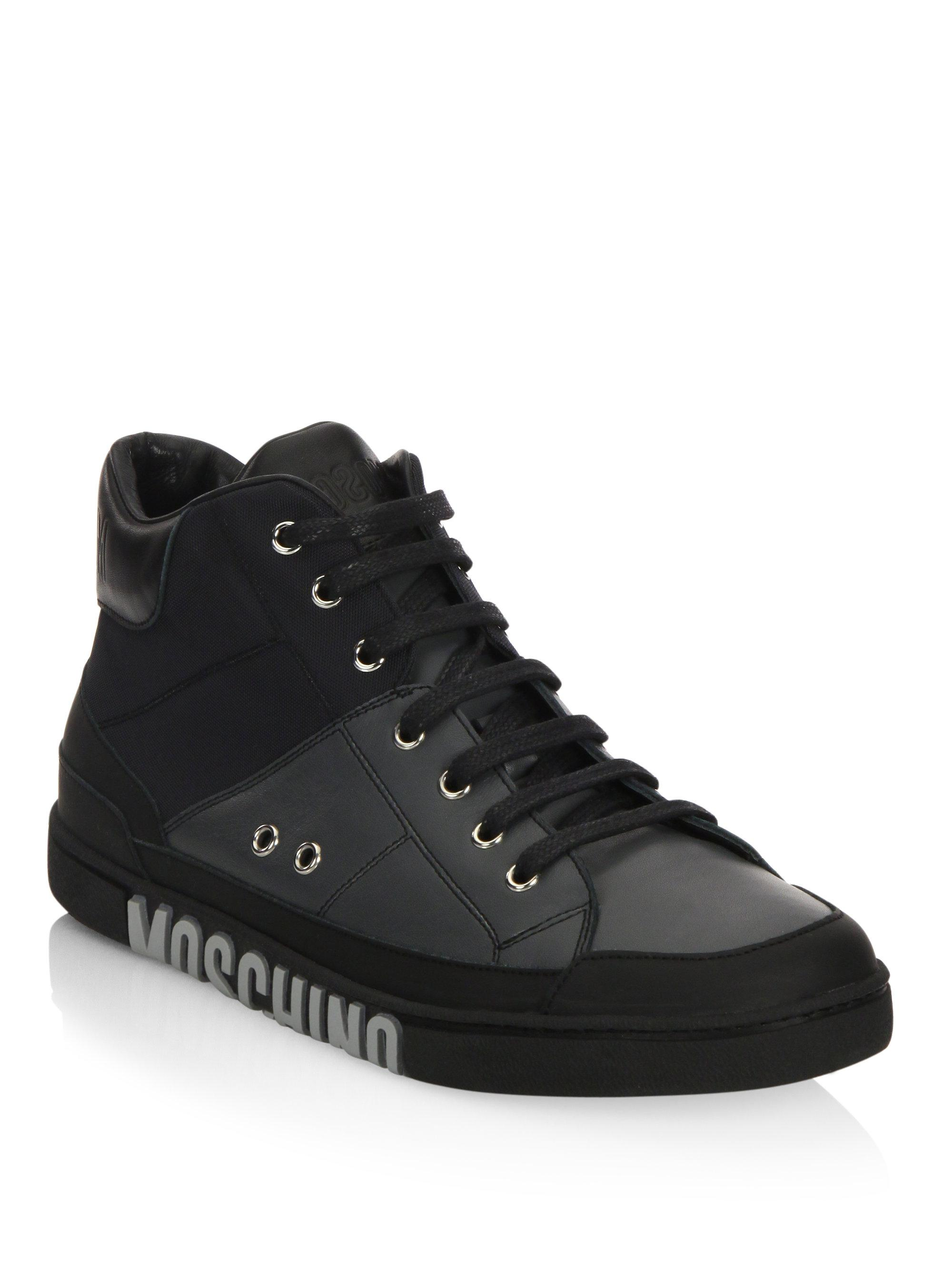 MoschinoMid-Top Lace-Up Sneakers