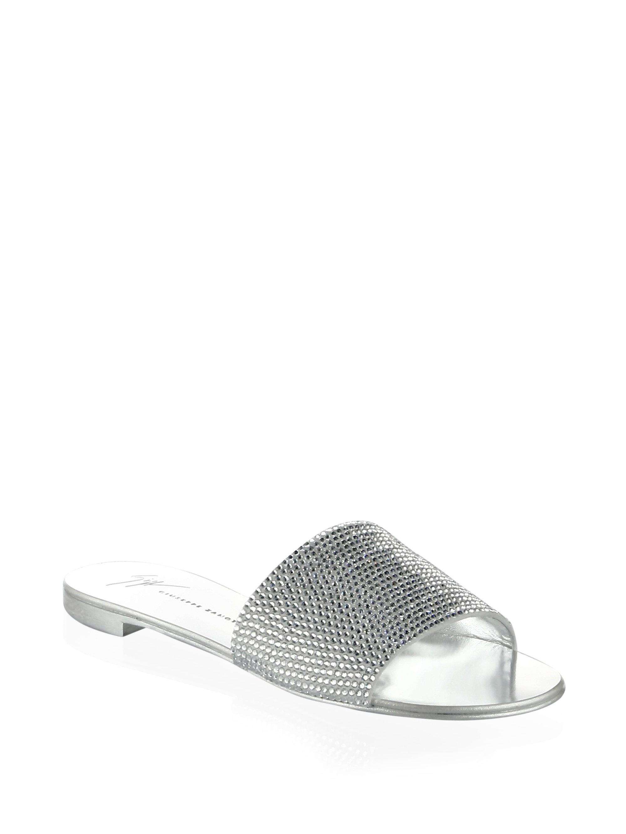Sandals ROLL 10 suede Strass light grey silver Giuseppe Zanotti