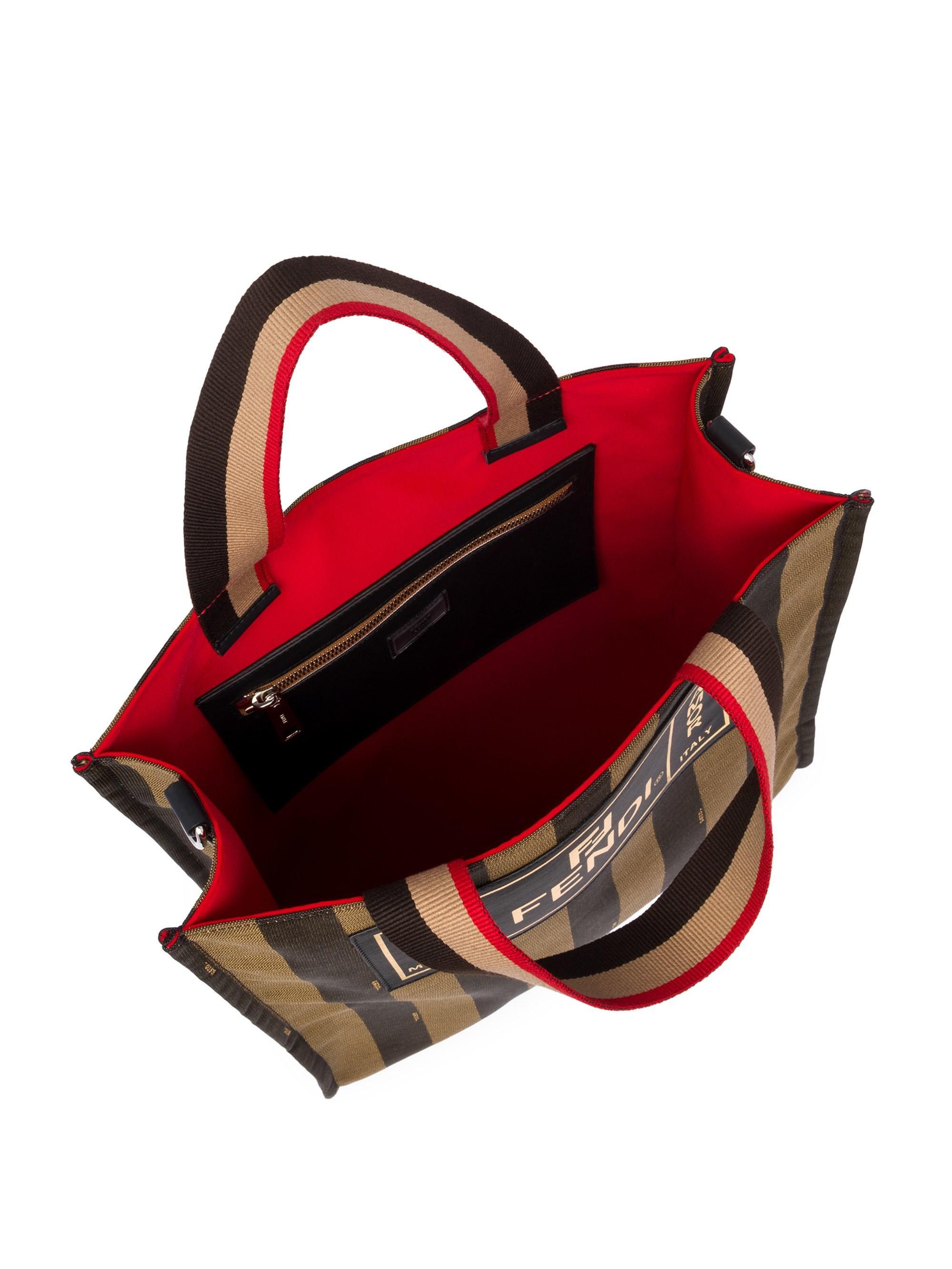 1372719341df Fendi - Brown Penguin Stripe Medium Tote Bag for Men - Lyst. View fullscreen
