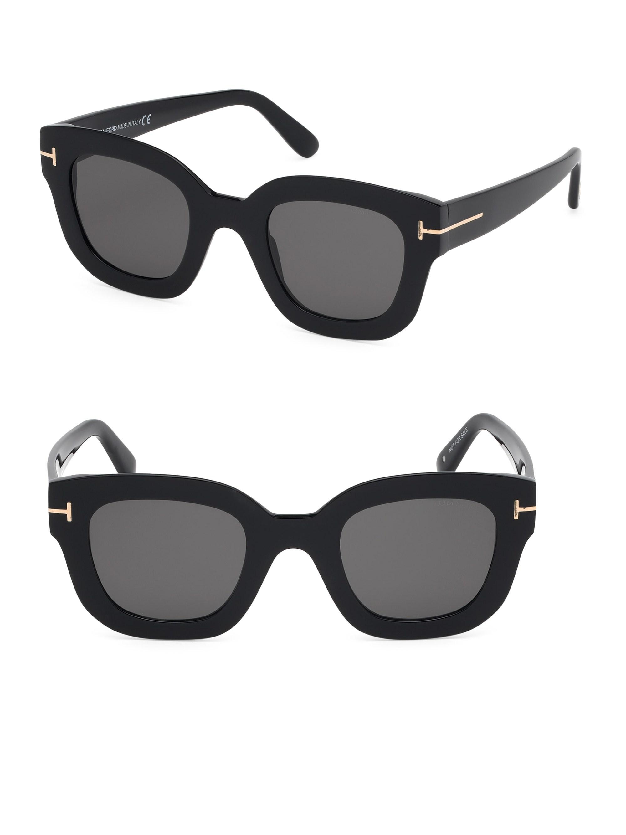 e173433dae Tom Ford Pia Black 48mm Square Sunglasses in Black - Lyst