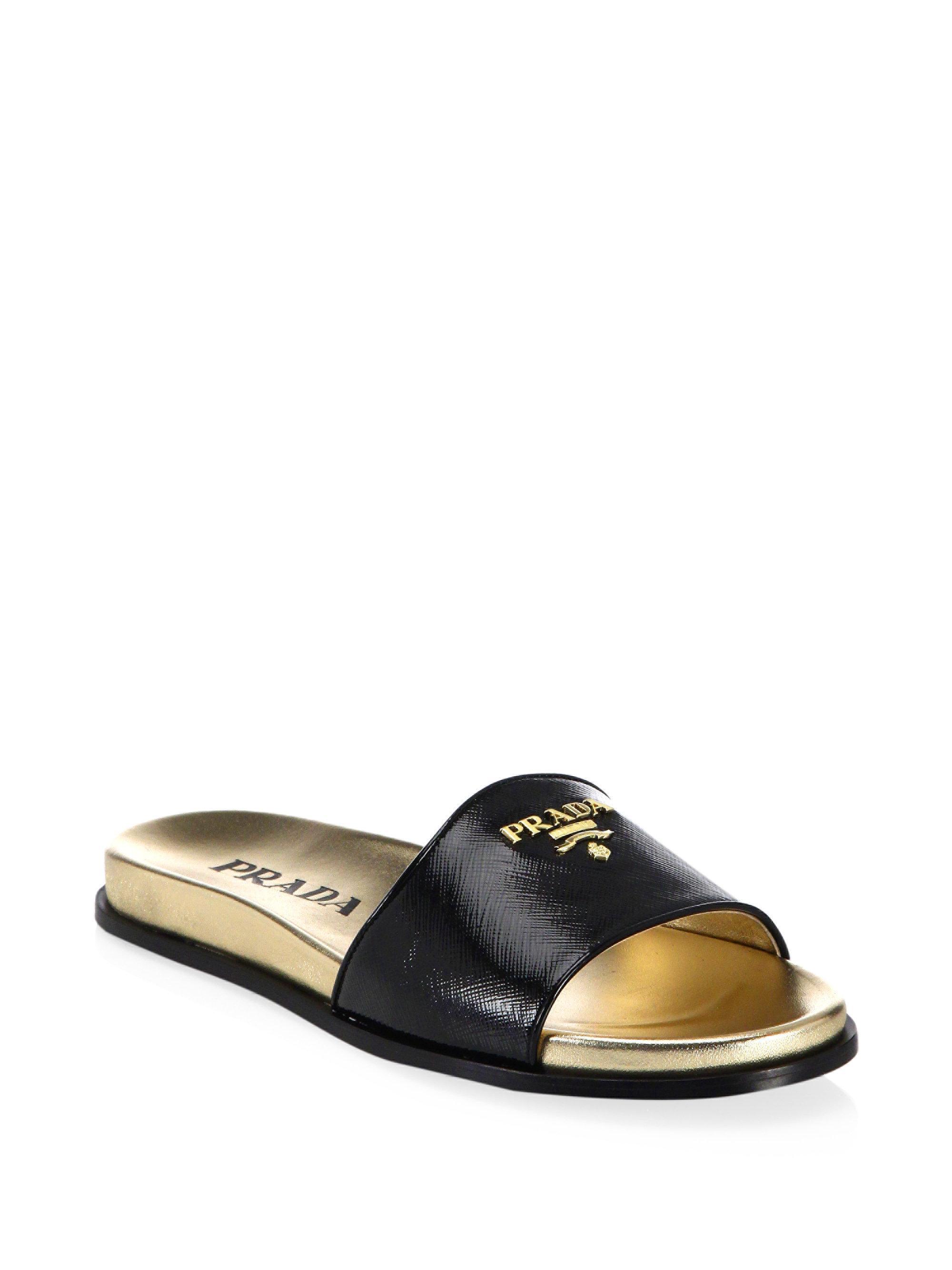 Prada Leather Logo Slide Sandals