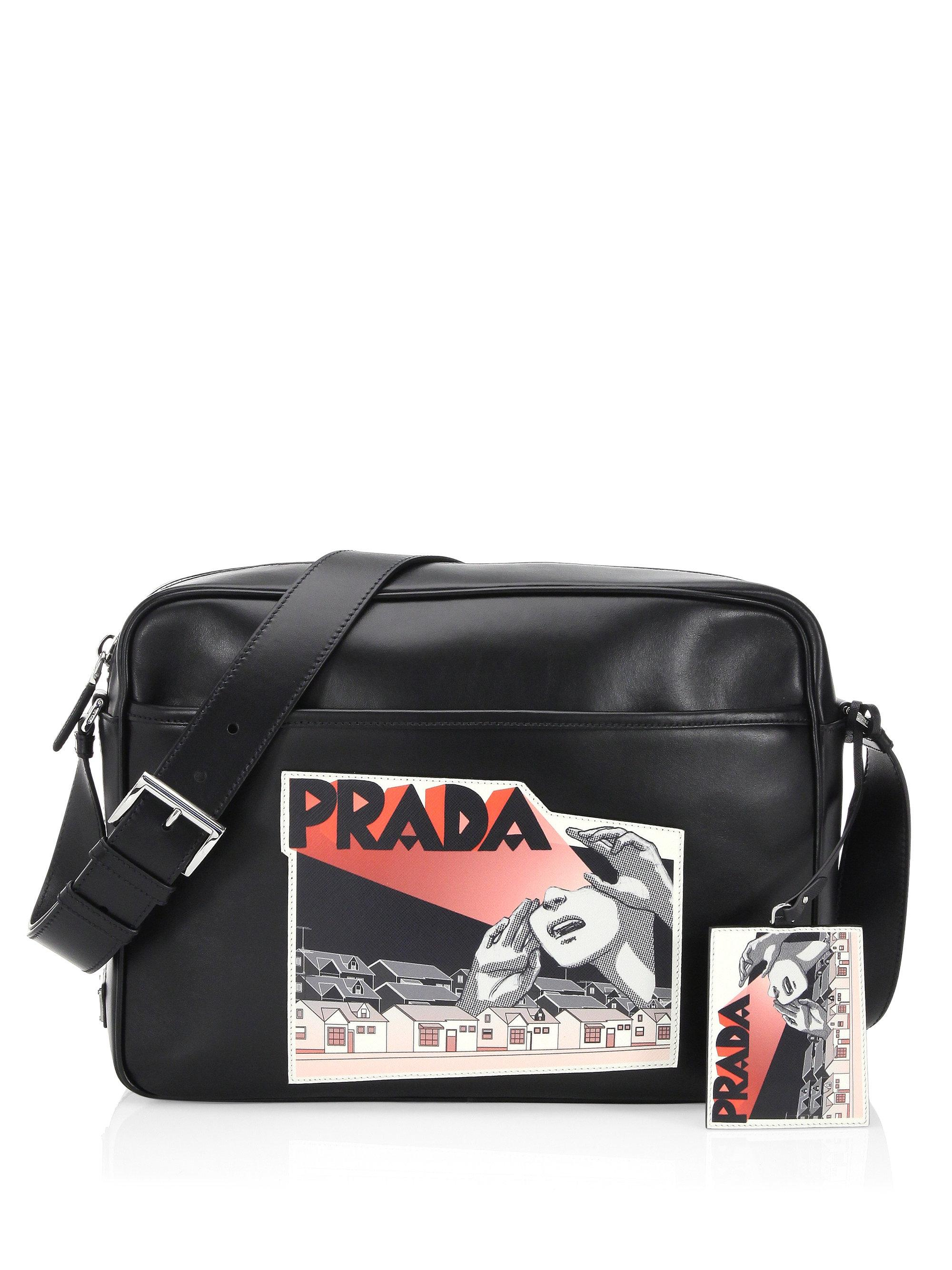 b645d1d7333f ... clearance lyst prada graphic messenger bag in black 088ed 385fa