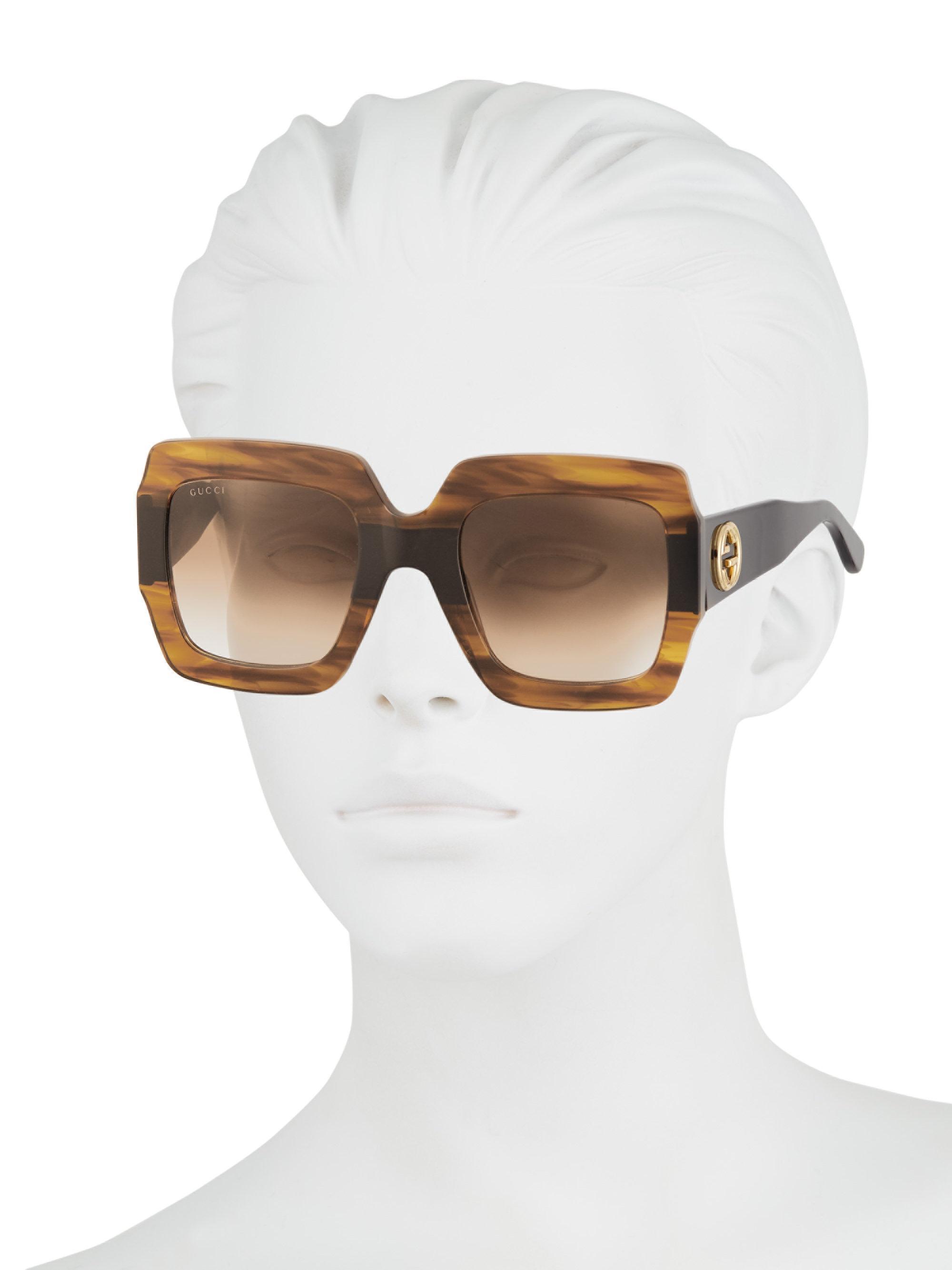 6423b7bcf Gucci - Multicolor 54mm Square Sunglasses - Shny Multlay Gloss Rose/brn -  Lyst. View fullscreen