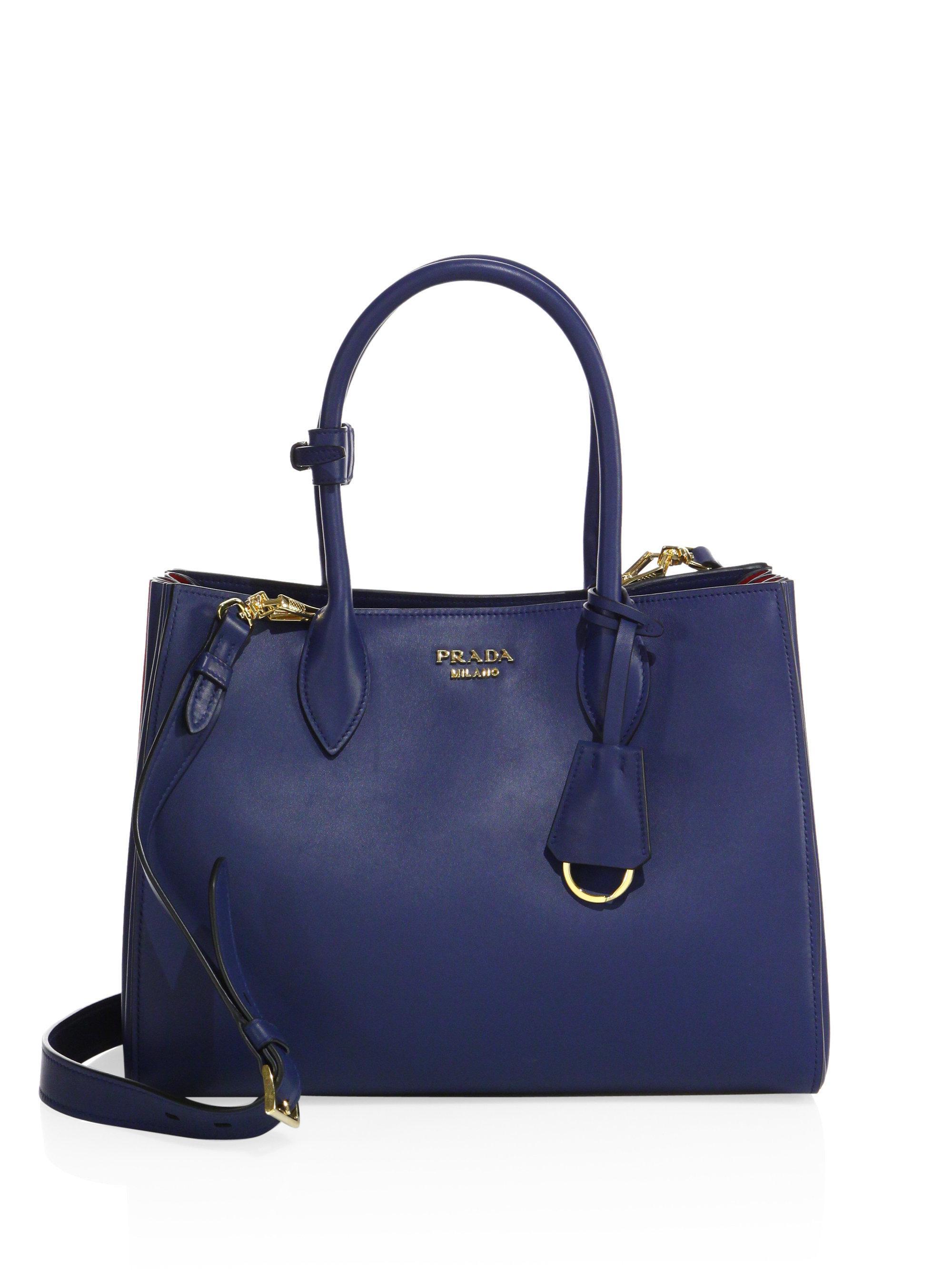 178a31be0c5f ... shop lyst prada city two tone leather tote in blue 45142 3e6e4