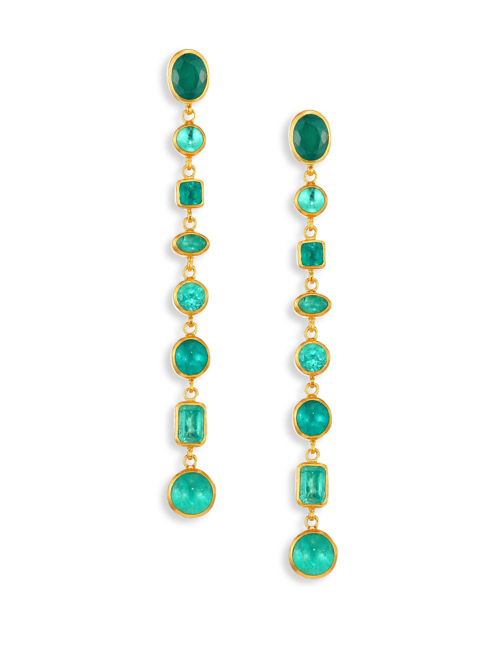 Gurhan Limited Edition 22k Elements Hue Double-Chain Earrings with Emerald pIGWUX
