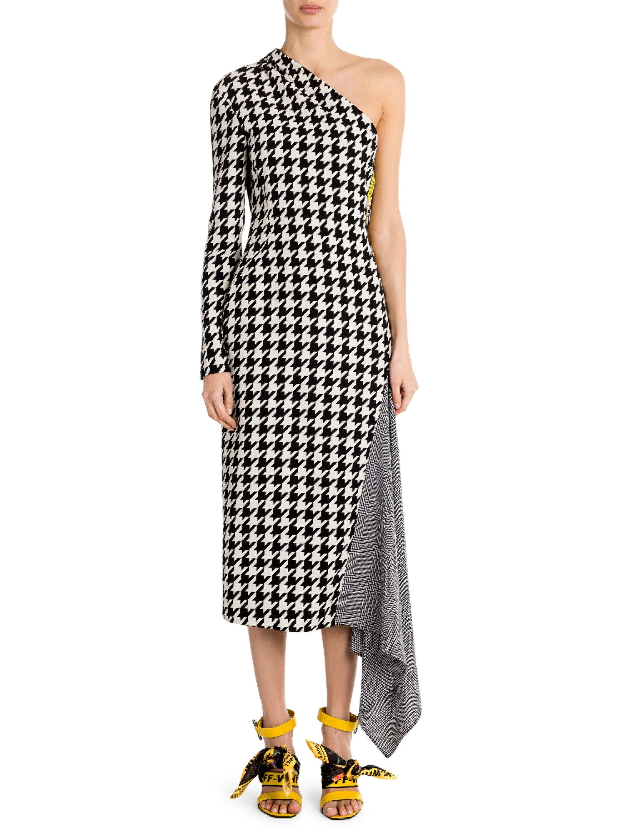 b01aa7bc7b7c Lyst - Off-White c o Virgil Abloh Houndstooth One-shoulder Dress in ...