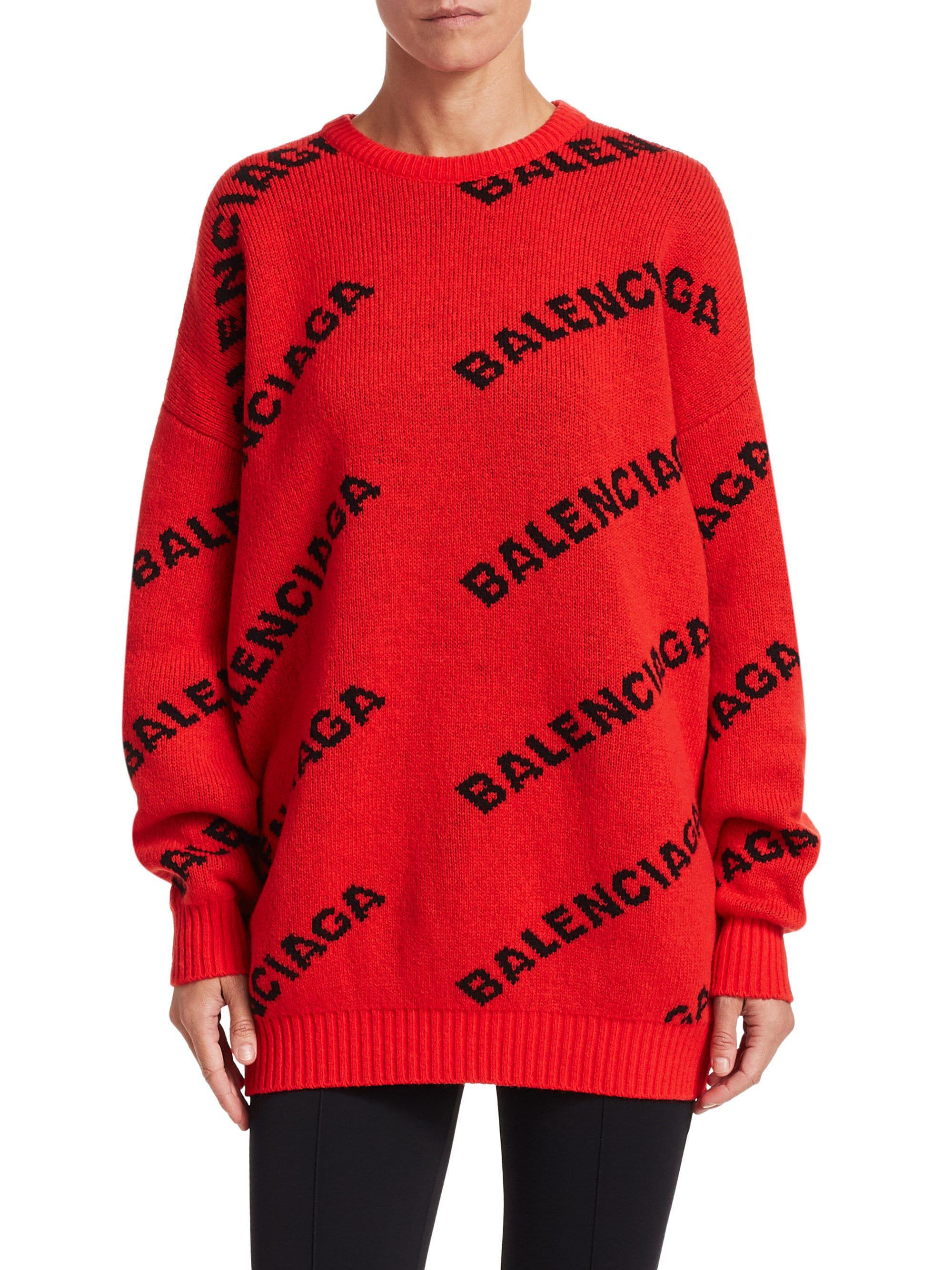 Balenciaga - Red Wool-blend Logo Sweater - Lyst. View fullscreen 6500c707b