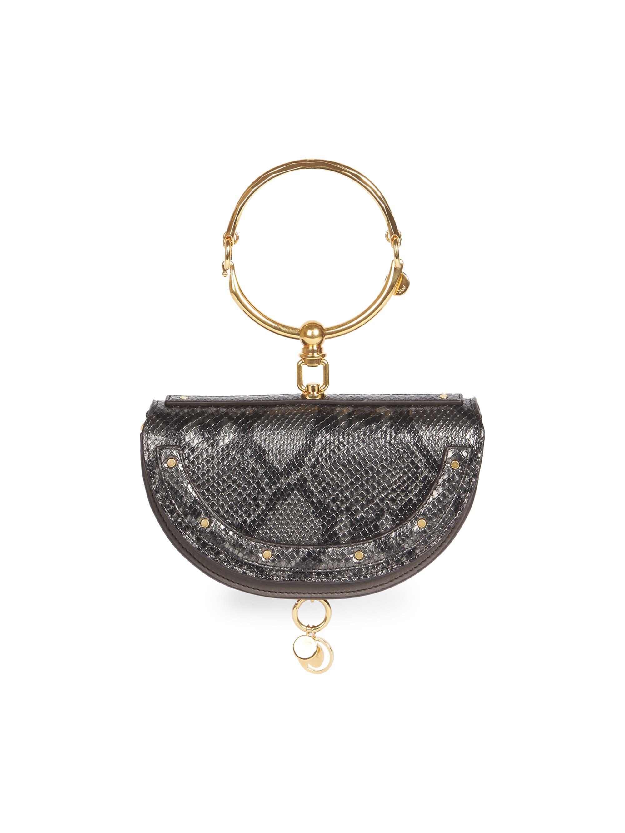 Lyst - Chloé Women s Nile Half Moon Python-print Leather Minaudiere f3b3b6f5203ab