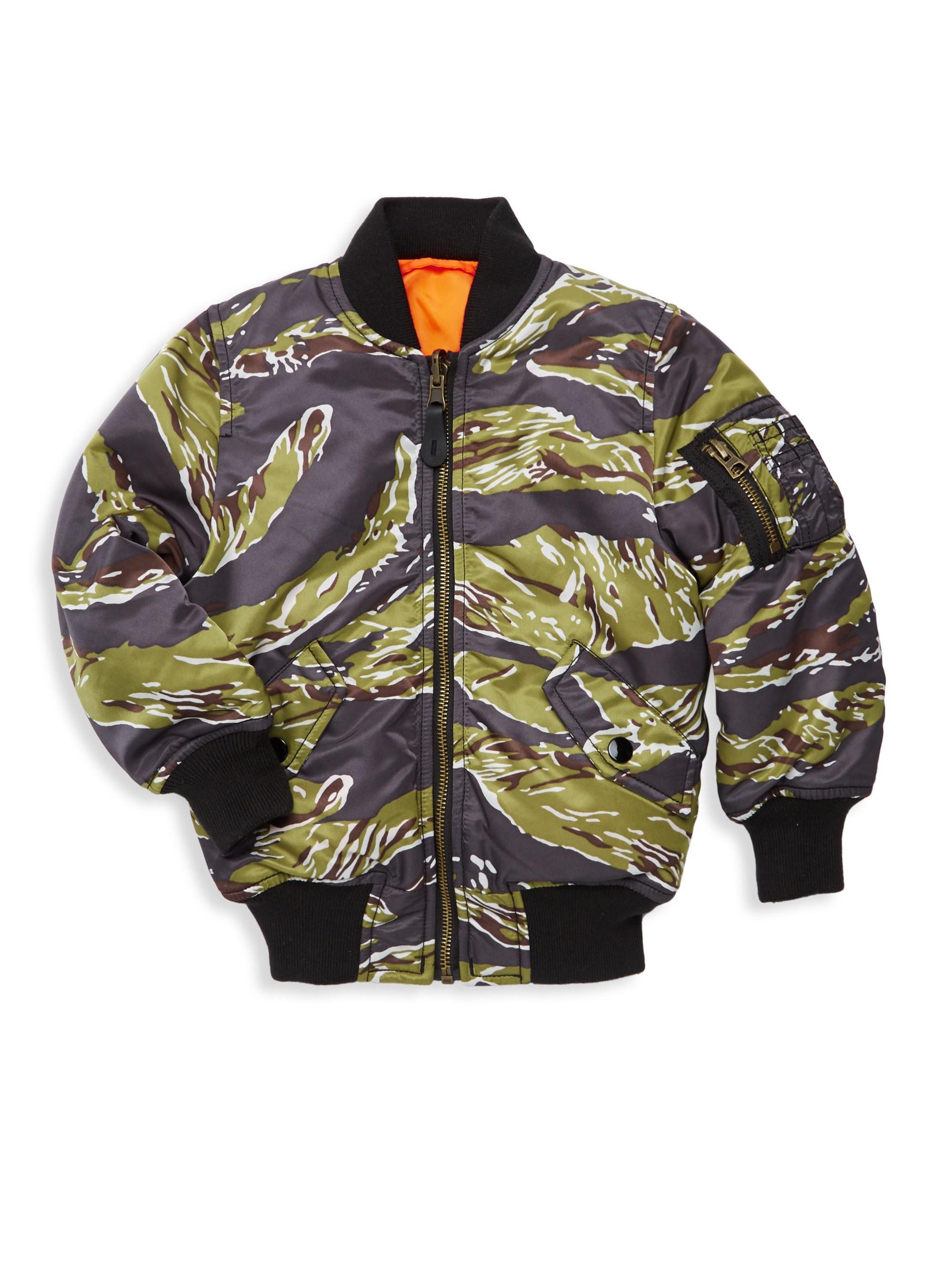 5676251f1d21d Alpha Industries. Men's Green Little Boy's And Boy's Tiger Camo Bomber  Jacket