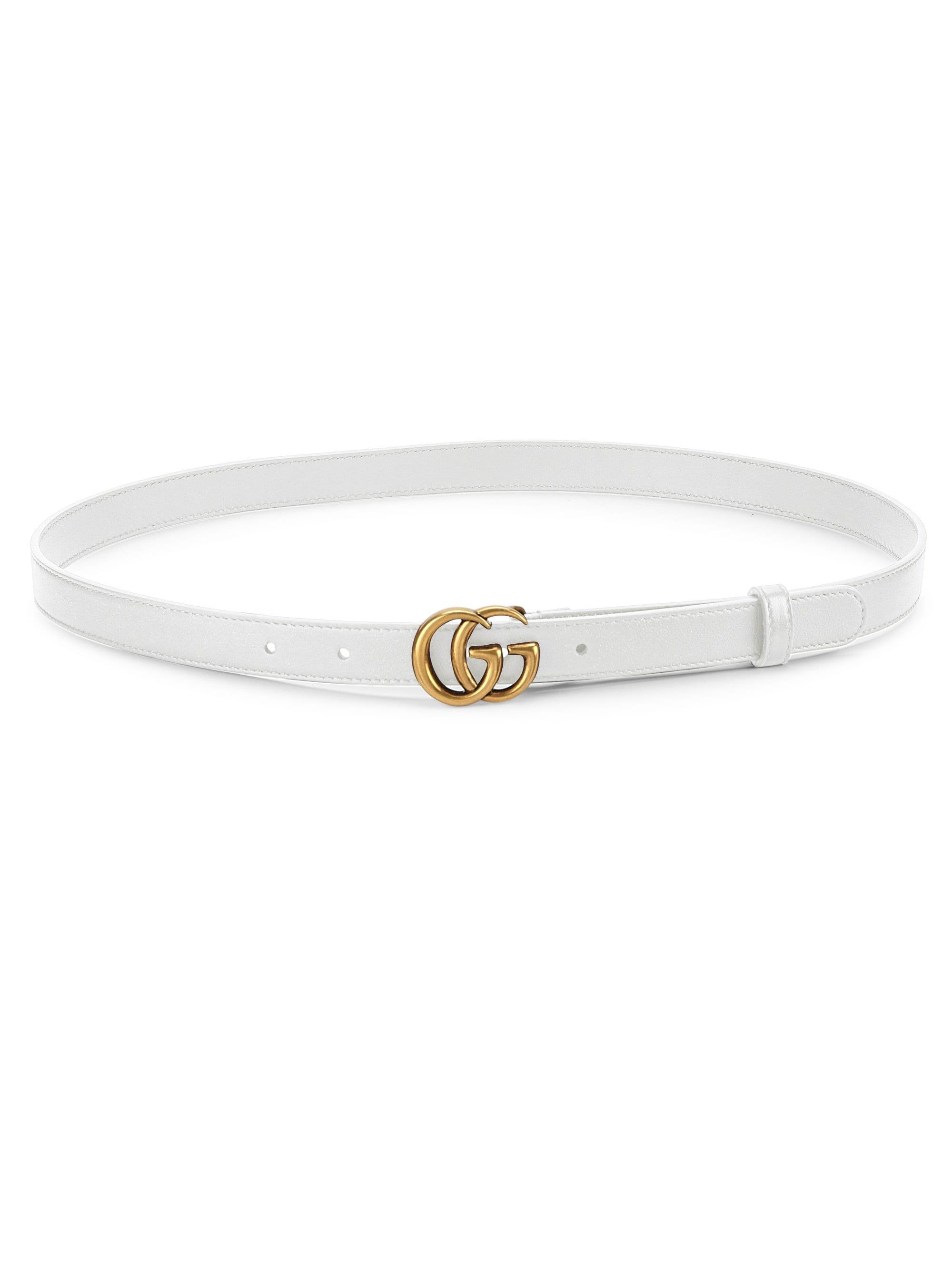 5121de3ca Gucci Women's Marmont Leather Logo Belt - Mystic White in White - Lyst
