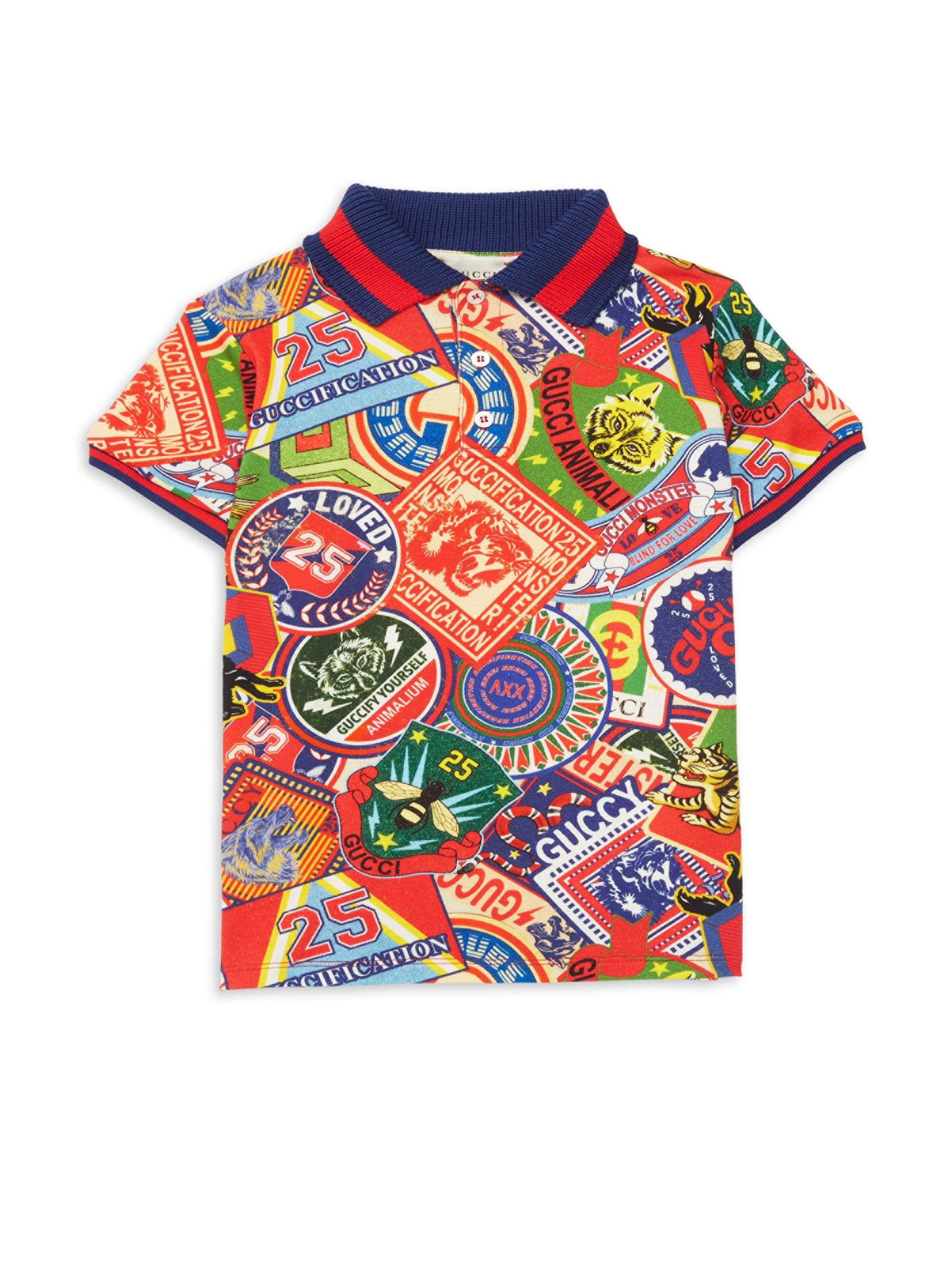 e4febdcfe150 Gucci Little Boy's & Boy's Logo Sticker Tee - Red Multi for Men - Lyst