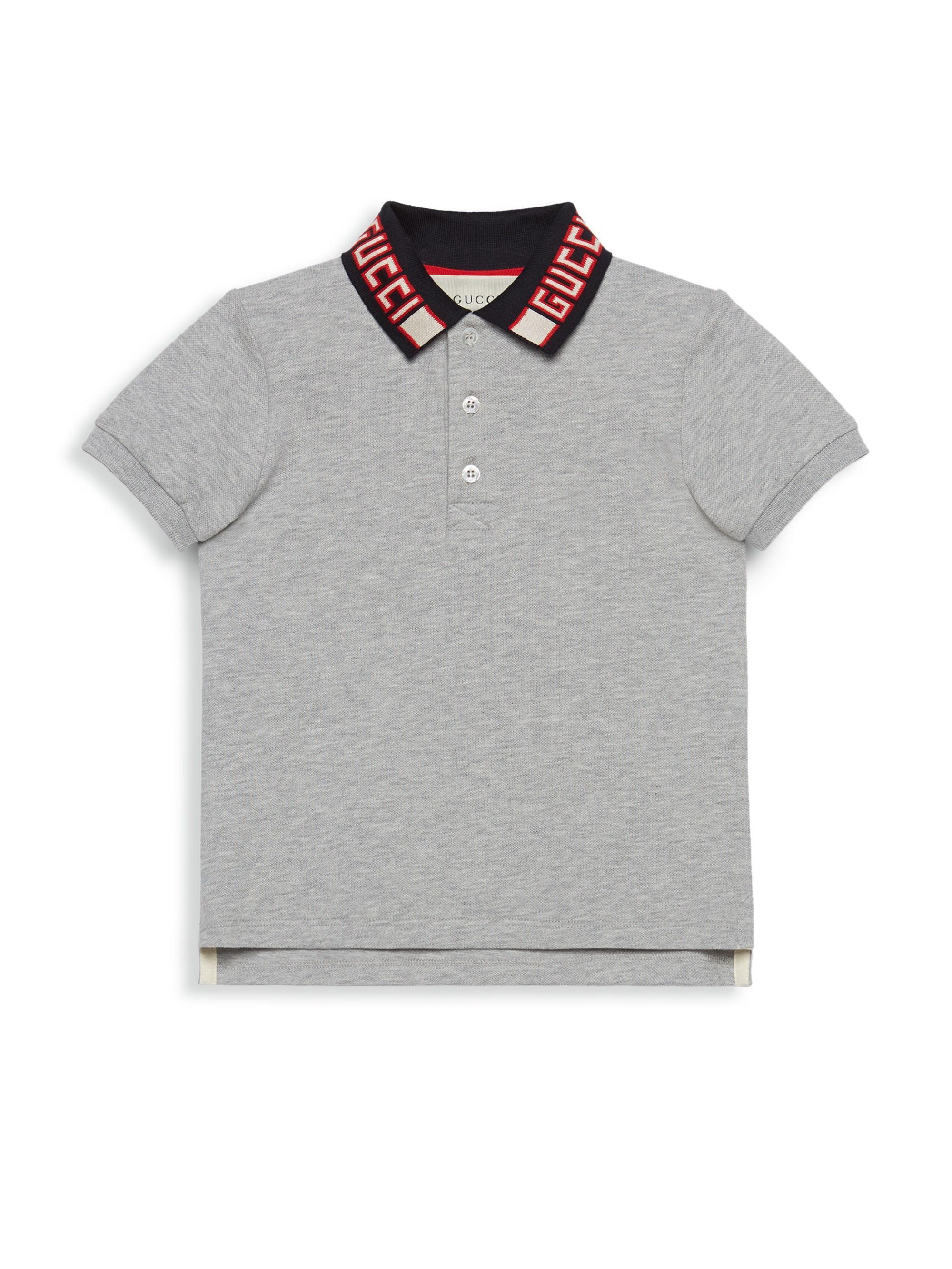 6c89bebf00f5 Lyst - Gucci Little Boy's & Boy's Logo Collar Polo in Gray for Men