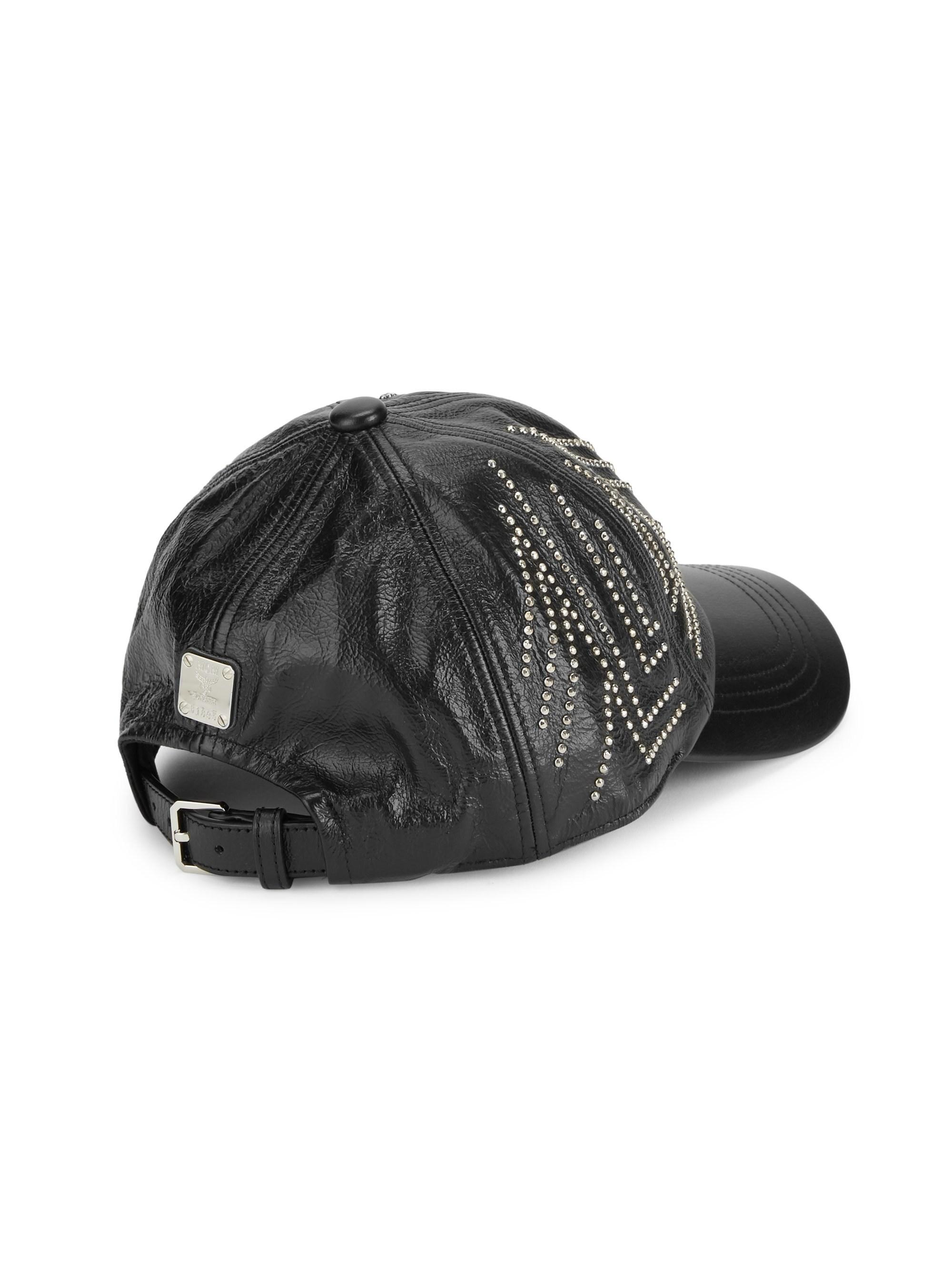83c1c9dd57e Lyst - MCM Men s Gunta Stud Leather Baseball Cap - Black in Black ...