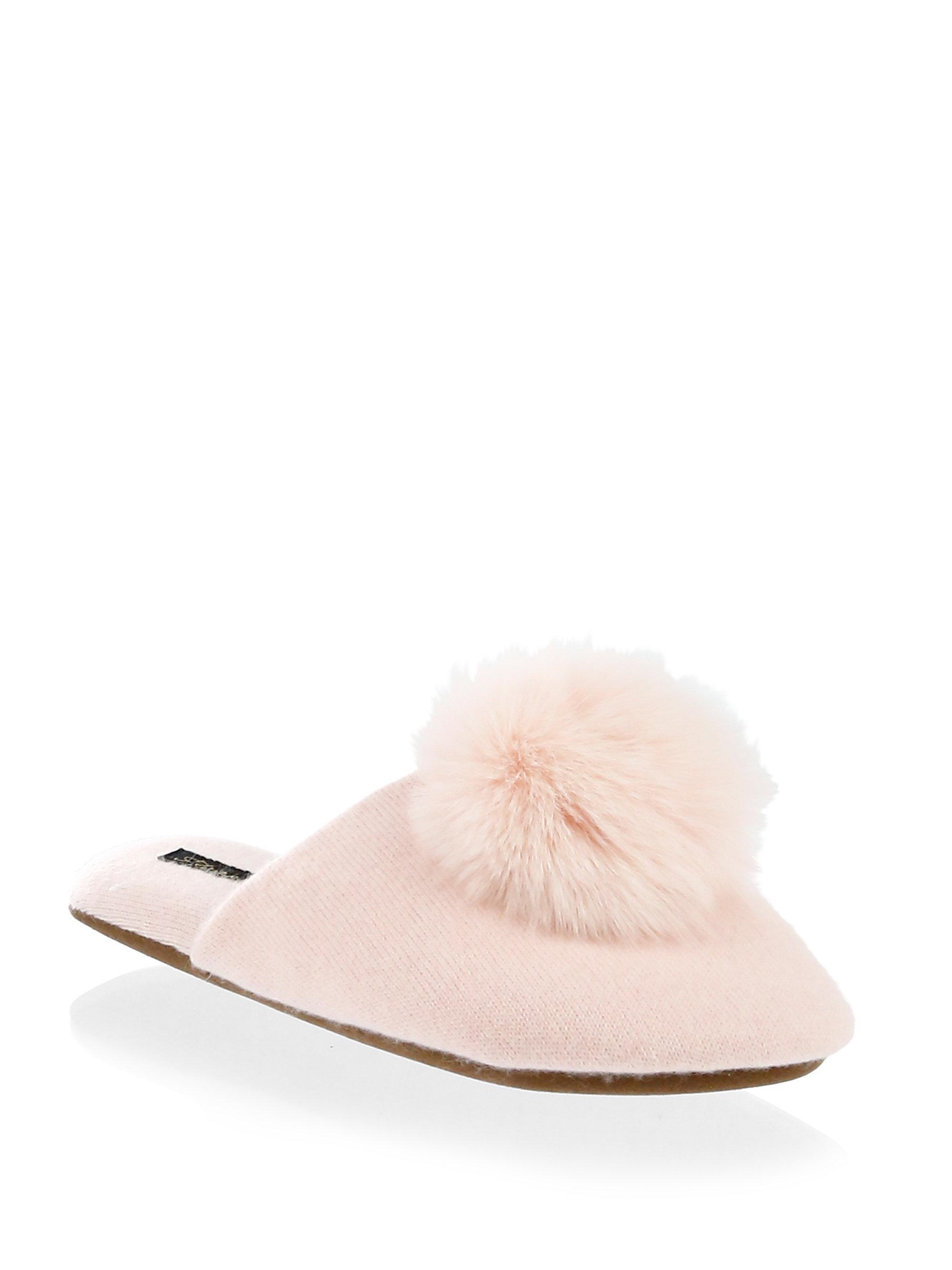 MINNIE ROSE Cashmere & Fox Fur Pom-Pom Slides