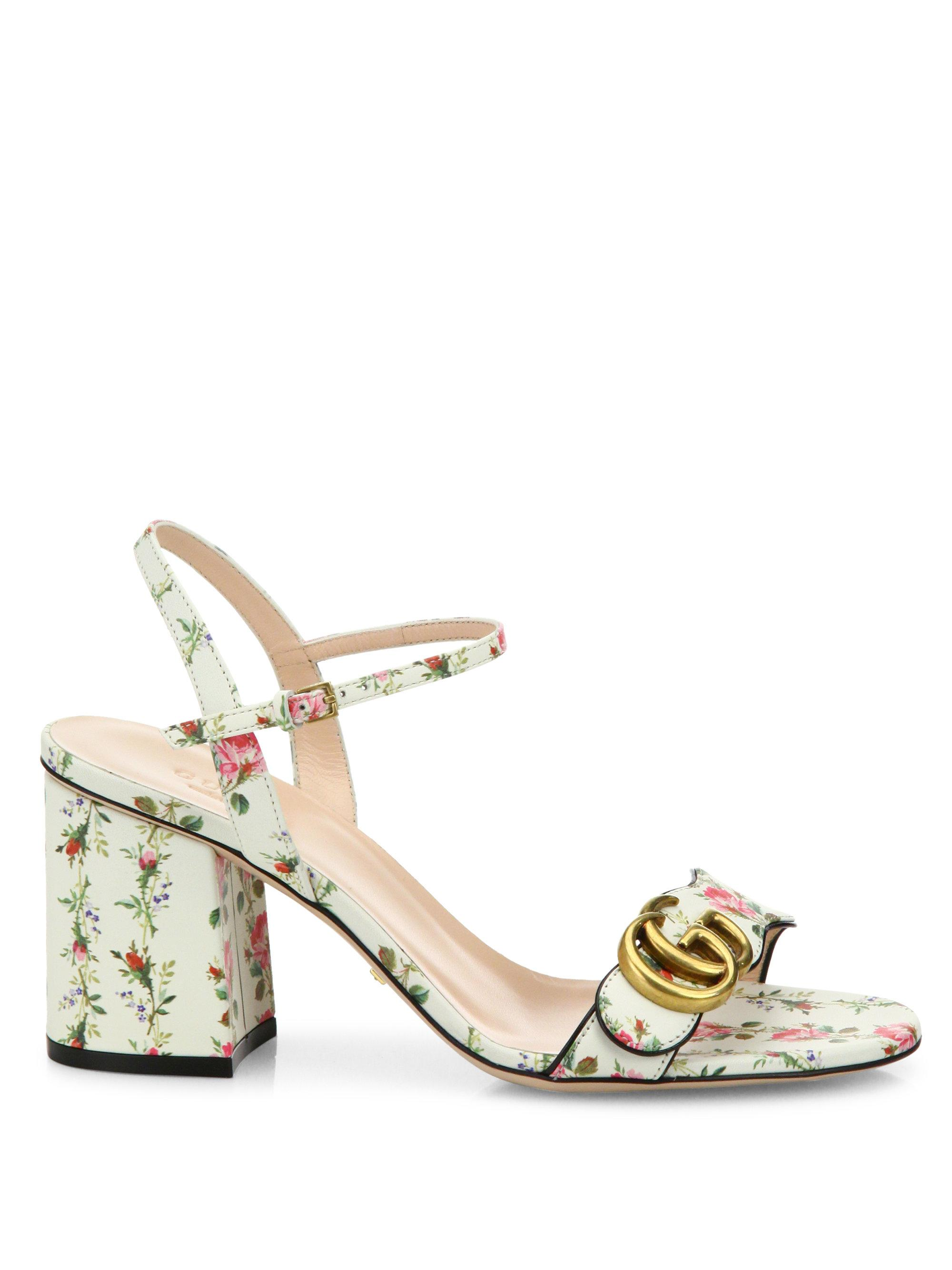 0ad17135d Gucci Floral-print Leather Sandals in White - Lyst