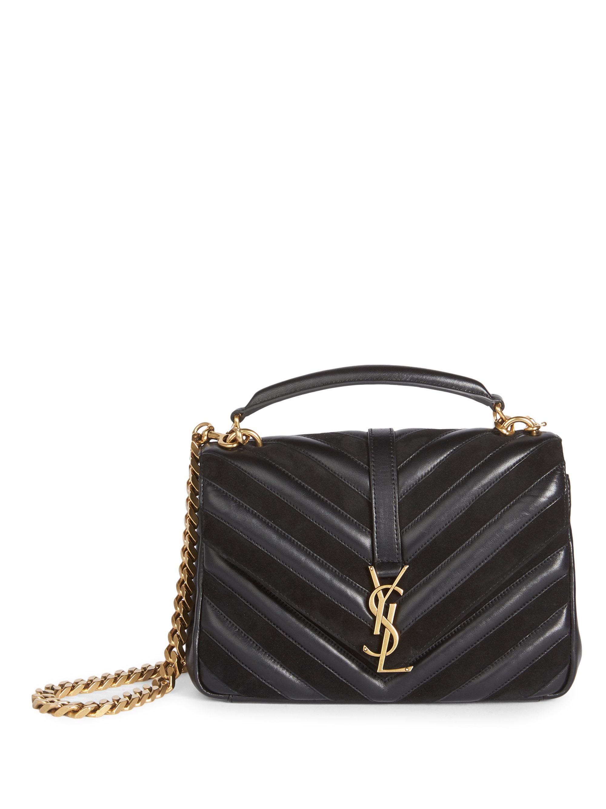 0de7a8beca37 Saint Laurent - Black Medium Monogram College Matelasse Leather   Suede Bag  - Lyst