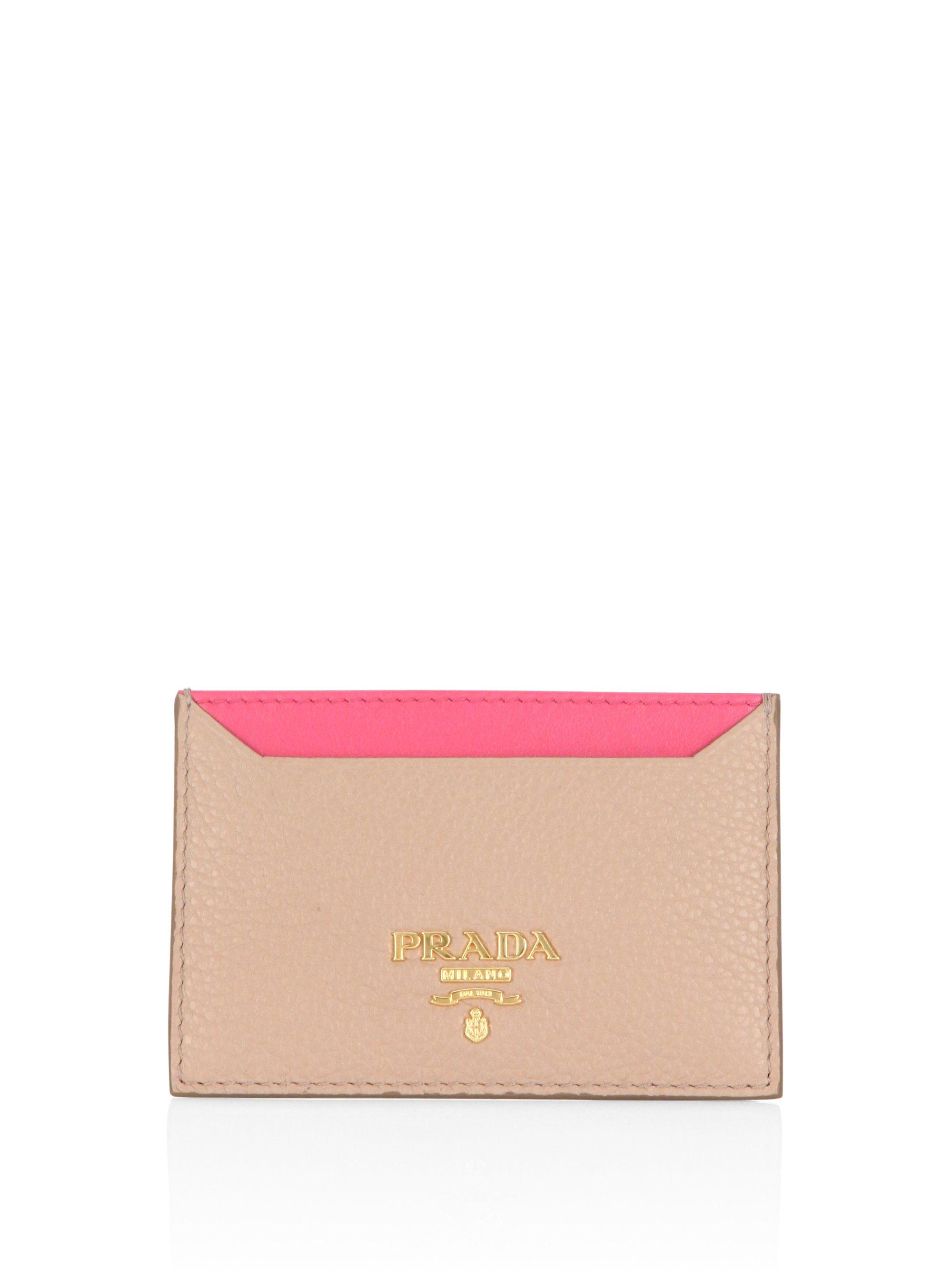 85ab615ef506cf ... new arrivals prada pink pebble leather two tone credit card holder lyst.  view fullscreen 2e504