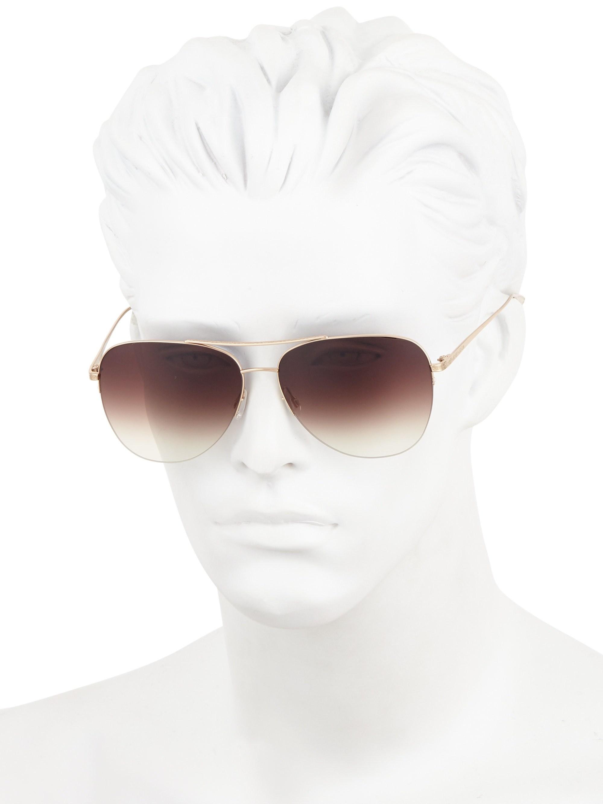 58a6fbb990 Lyst - Barton Perreira Chevalier 62mm Aviator Sunglasses in Metallic for Men