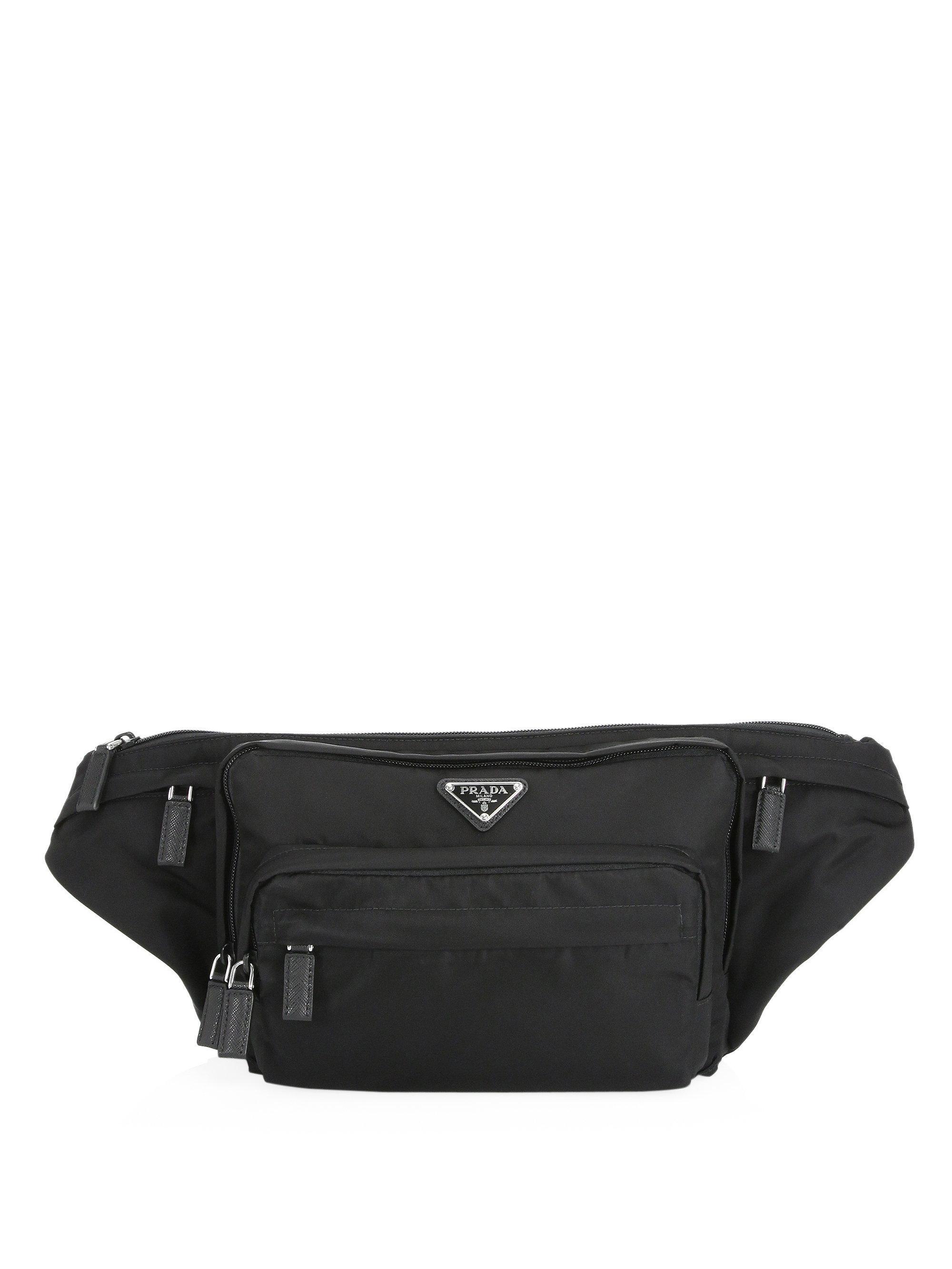 440b790273f9 ... order prada nylon waist bag in black for men lyst 2c239 18331