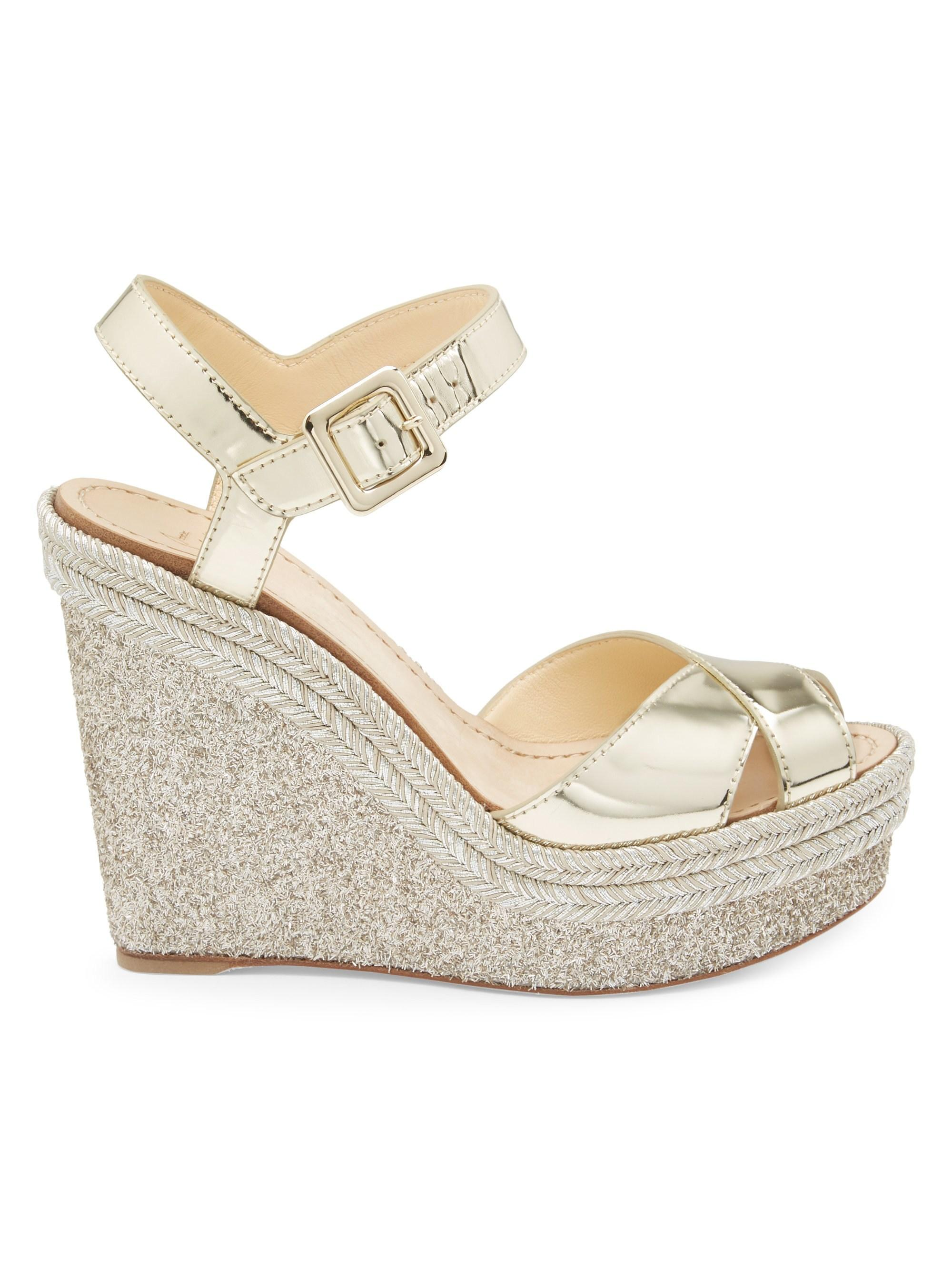 b964d2801626 Christian Louboutin. Women s Metallic Almeria 120 Mirrored Espadrille Platform  Wedge Sandals